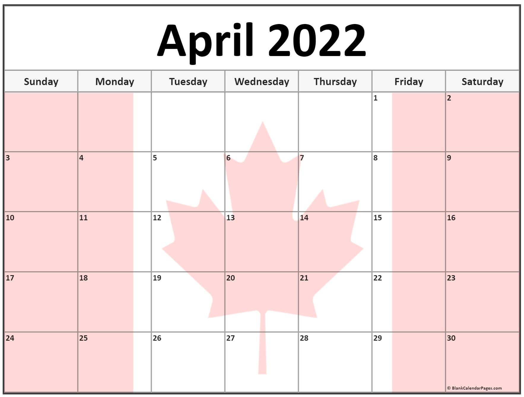 Collection Of April 2022 Photo Calendars With Image Filters. pertaining to April 2022 Printable Calendar Free