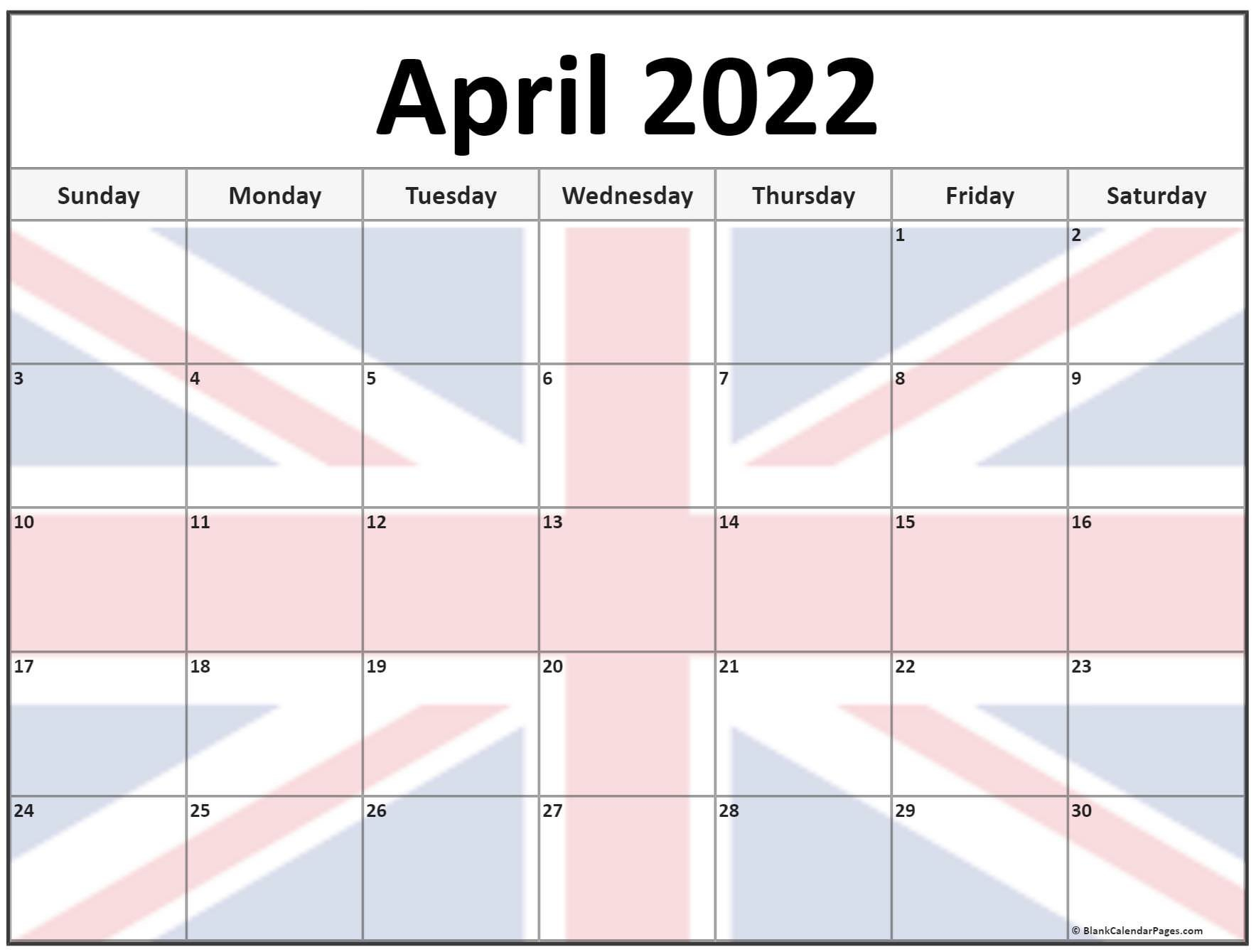 Collection Of April 2022 Photo Calendars With Image Filters. with Printable April 2022 Calendar Template Free