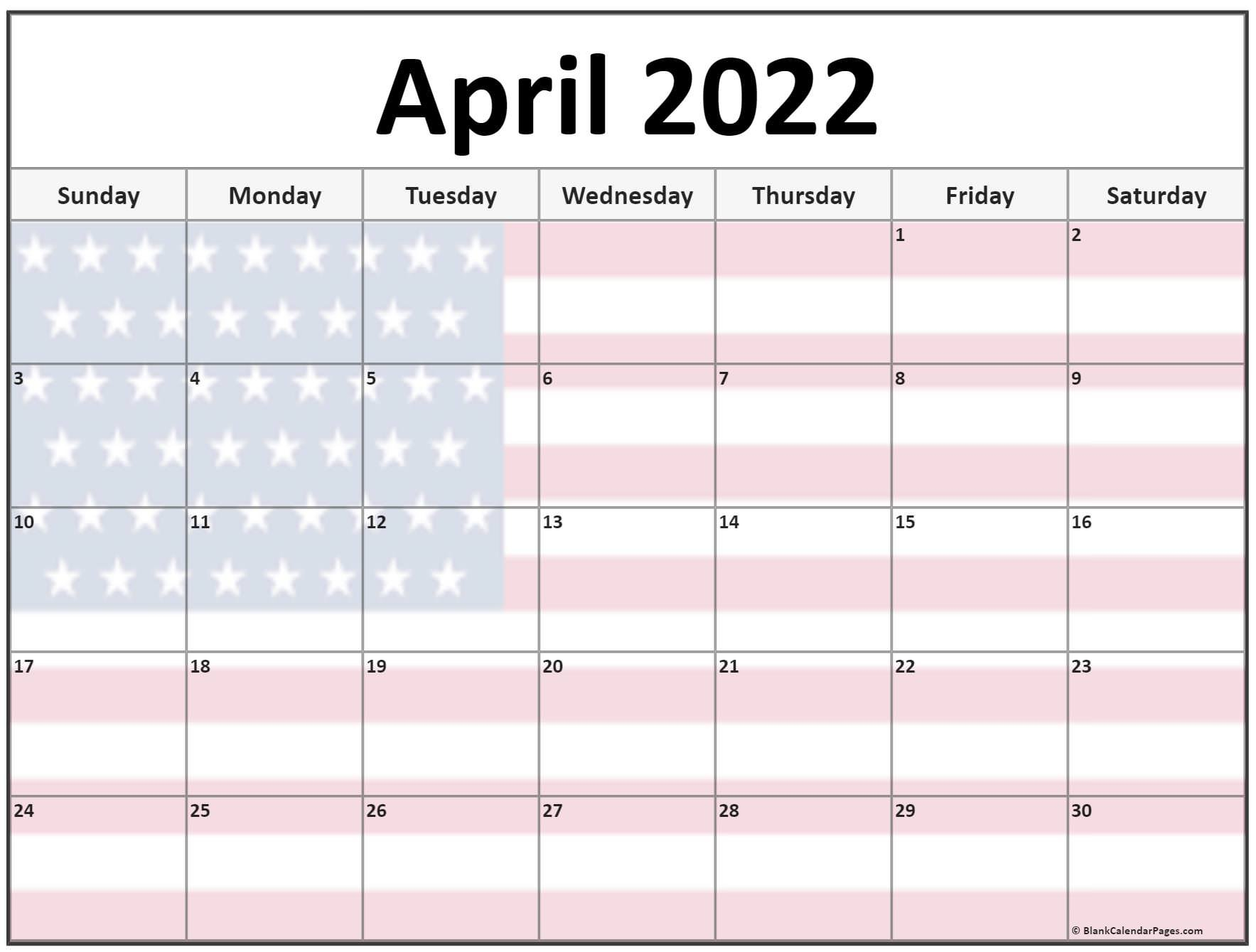 Collection Of April 2022 Photo Calendars With Image Filters. with regard to Printable April 2022 Calendar Template Free Image