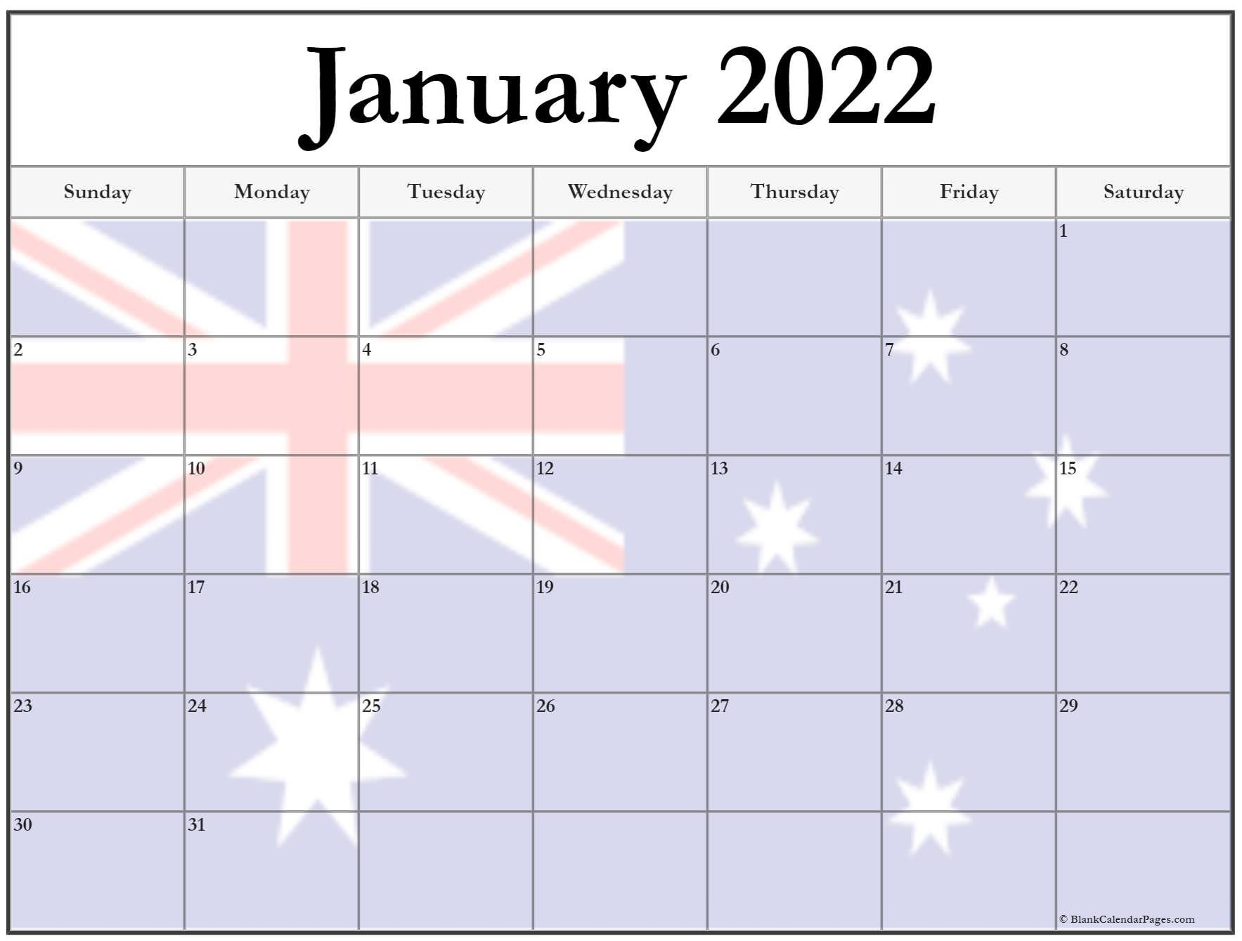 Collection Of January 2022 Photo Calendars With Image Filters. with regard to January 2022 Calendar Printable Free Graphics