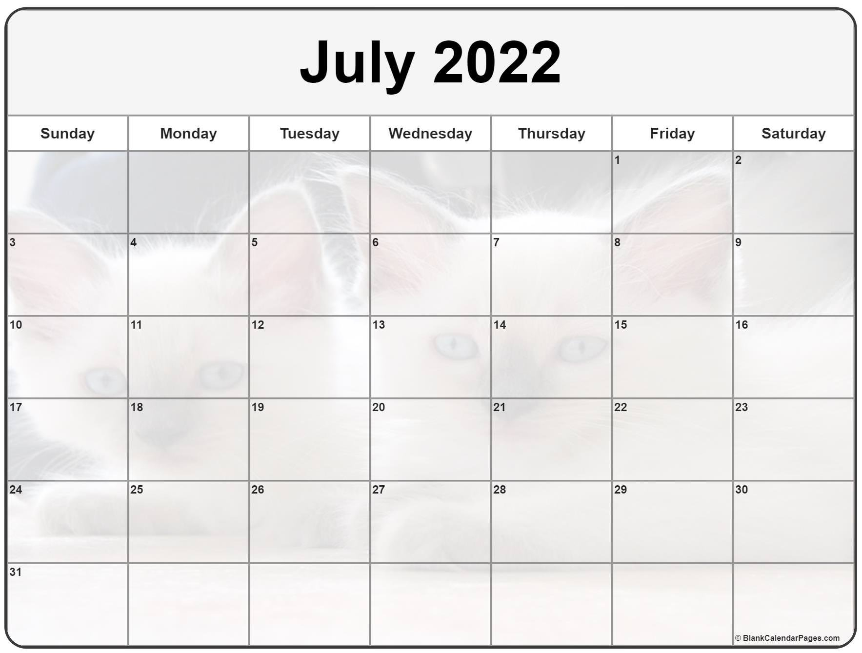 Collection Of July 2022 Photo Calendars With Image Filters. throughout Print July 2022 Calendar Graphics