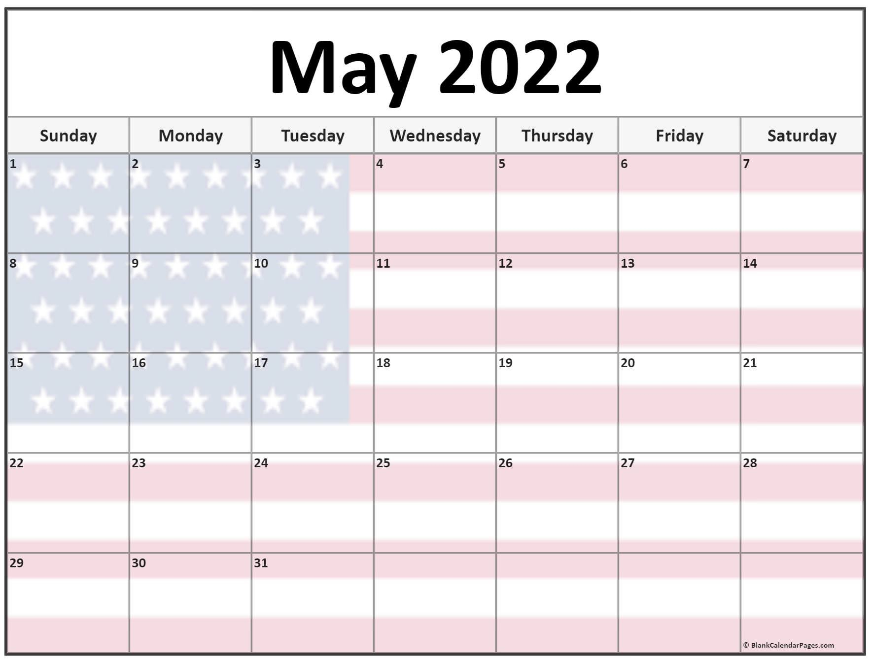 Collection Of May 2022 Photo Calendars With Image Filters. within Printable Calendar May 2022 Photo