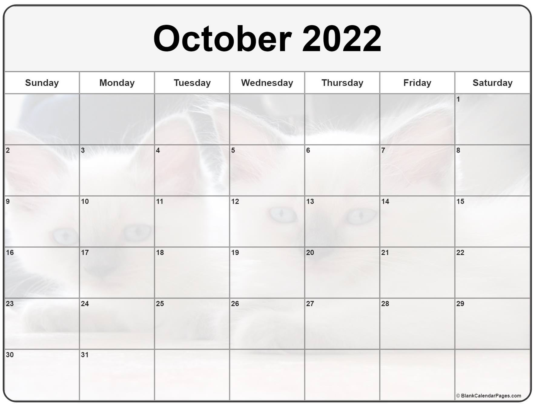 Collection Of October 2022 Photo Calendars With Image Filters. with October 2022 Planner Calendar Graphics