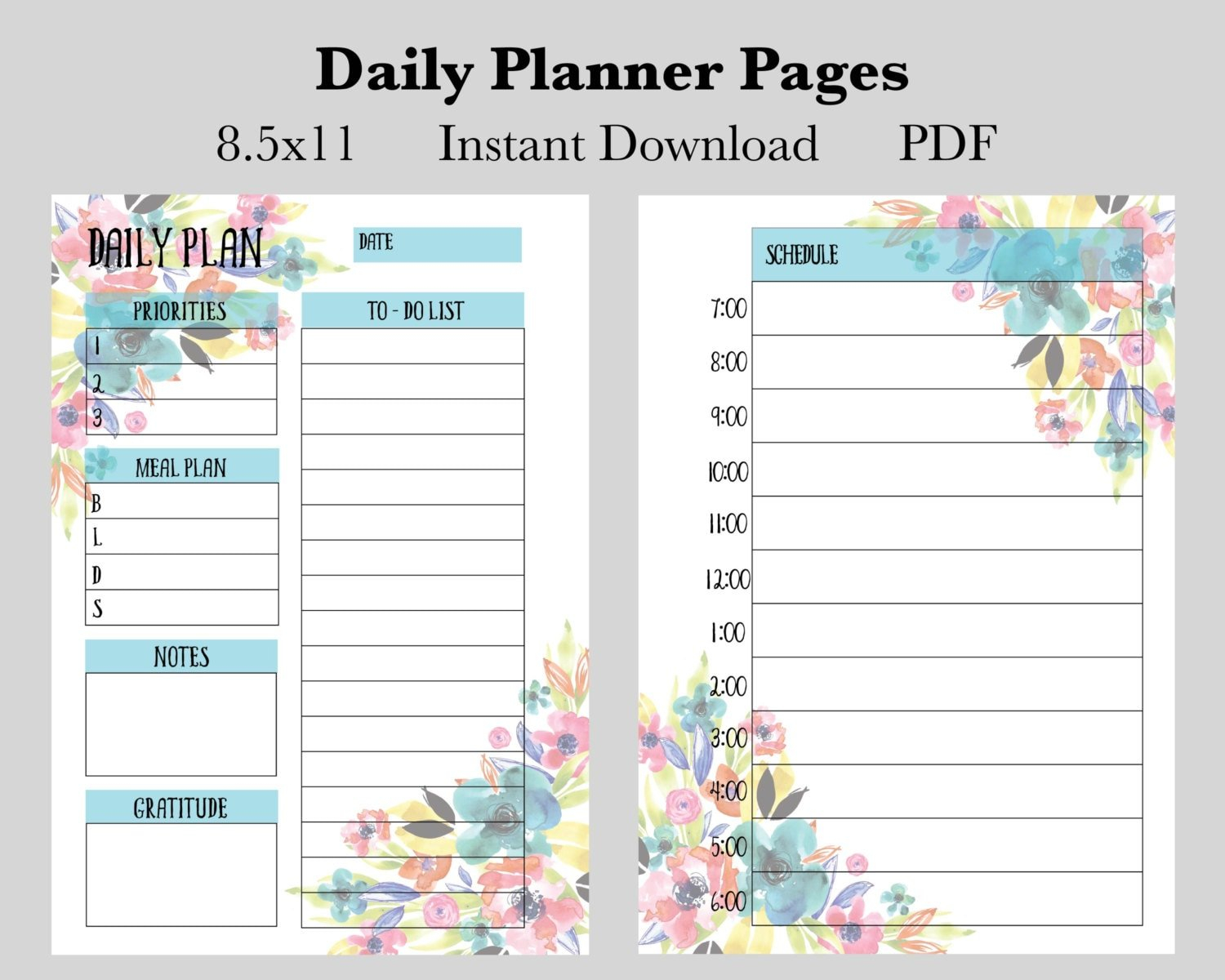 Daily Planner Pages Instant Download Printable Planner Pages inside Printable Artist Planner Pages