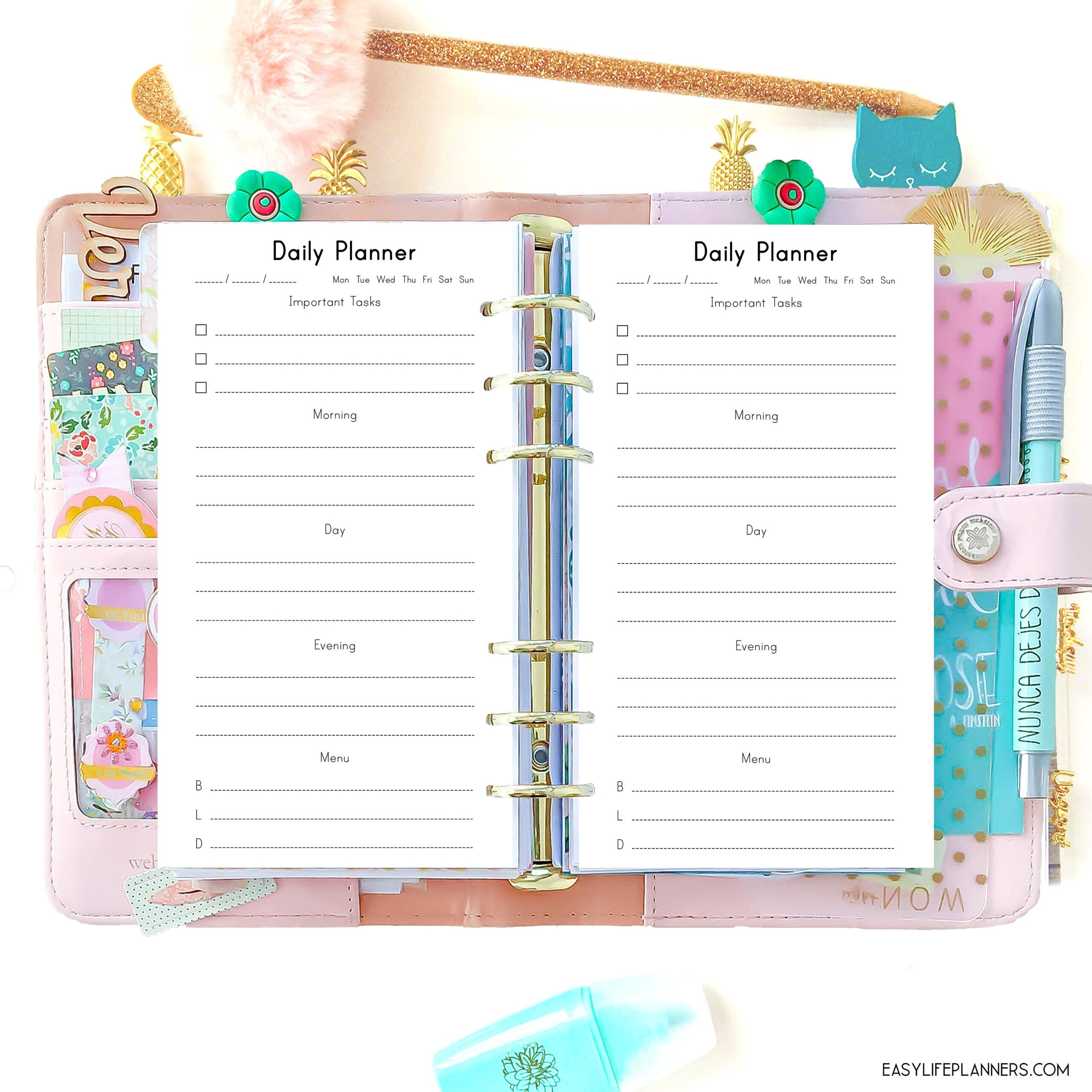 Daily Planner Pages Personal Size Planner Inserts with Planner Insert Printables Book Photo