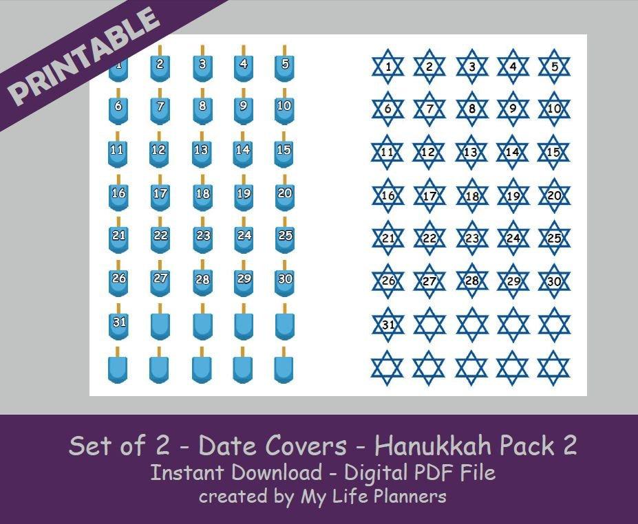 Date Cover Stickers, Hanukkah Pack 2, Countdown Stickers regarding Free Digital Numbers For Planners