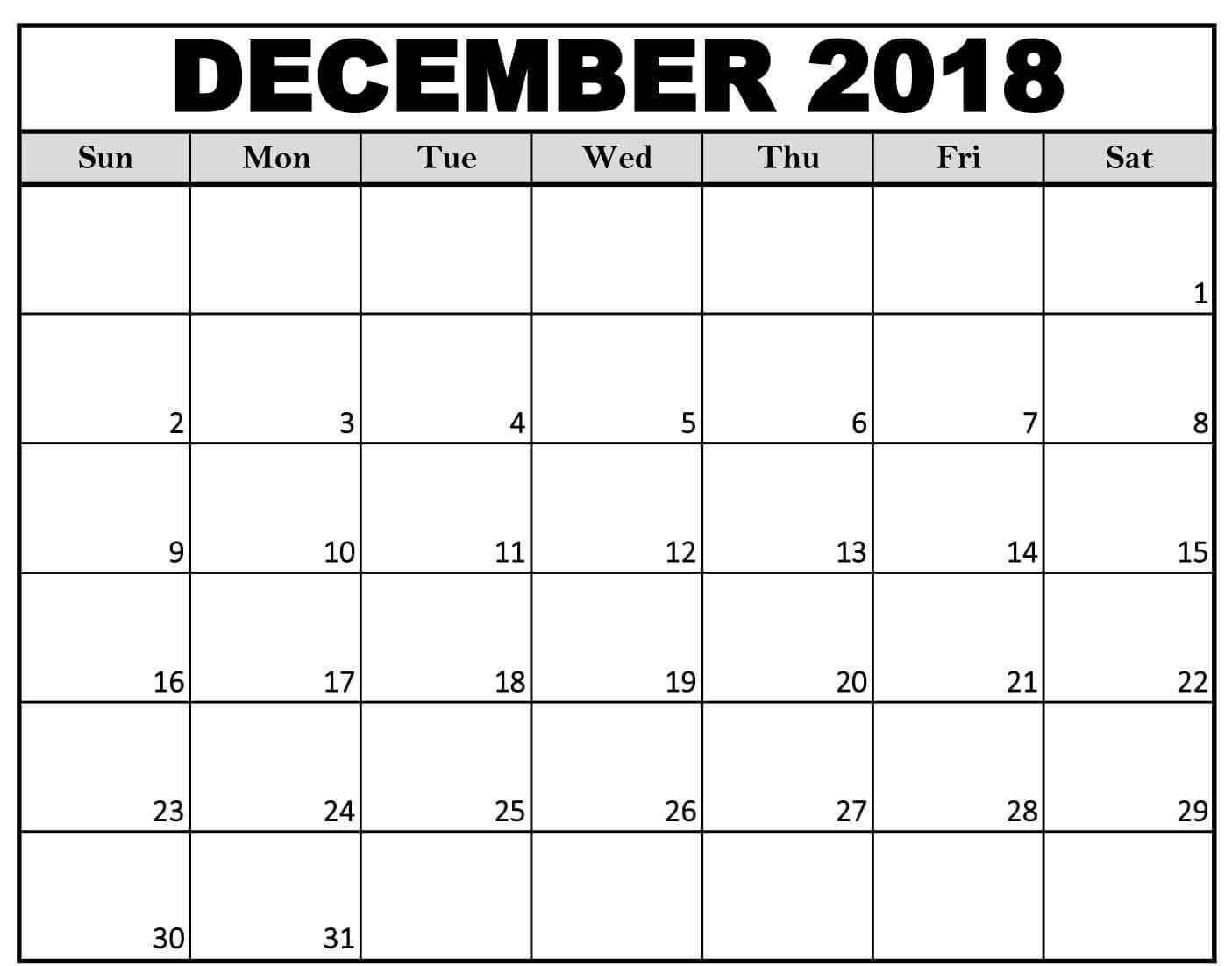 December 2018 Calendar Landscape #December2018Calendar # for Free Printable December January Calendar Graphics