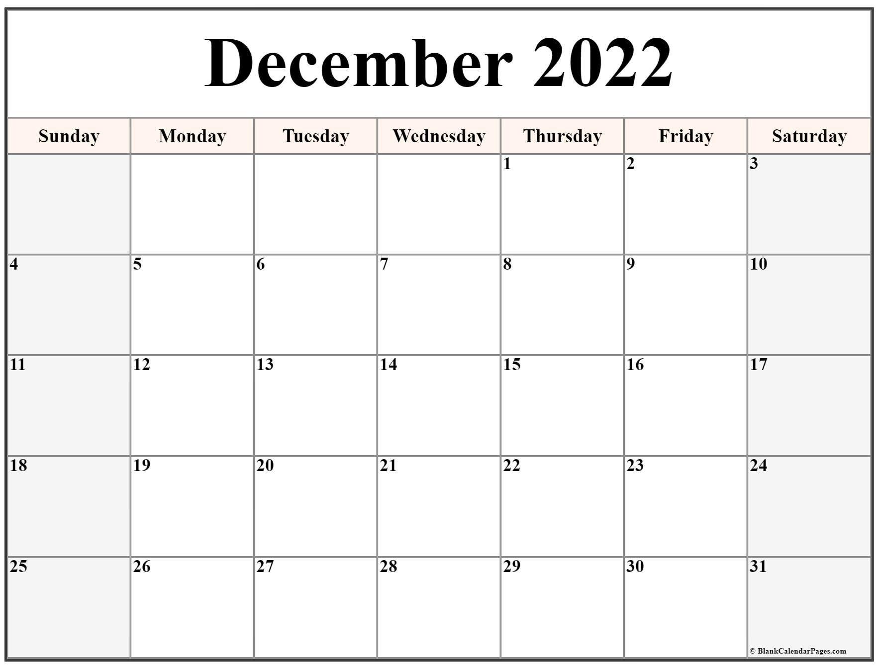 December 2022 Calendar | Free Printable Calendar Templates regarding 2022 April Calendar Free Printable