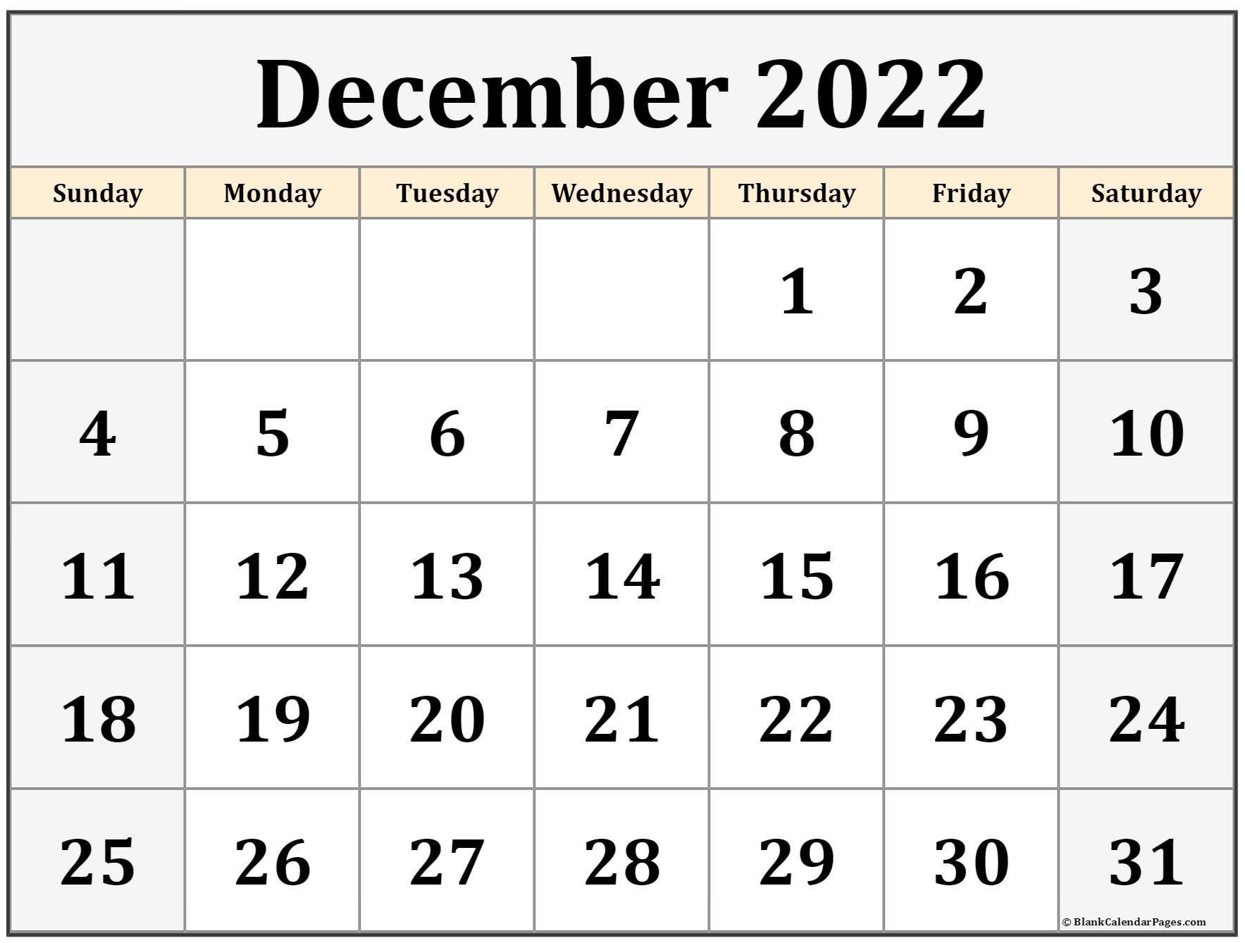 December 2022 Calendar | Free Printable Calendar Templates throughout Planner 2022 Printable Goal Image