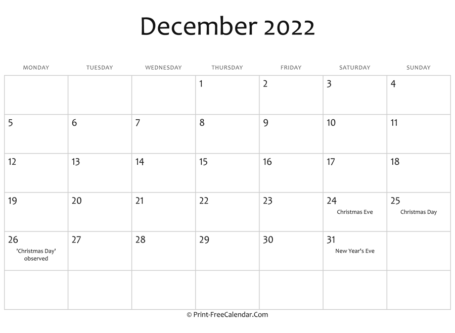 December 2022 Editable Calendar With Holidays with Free Printable 2022 Planner With Holidays