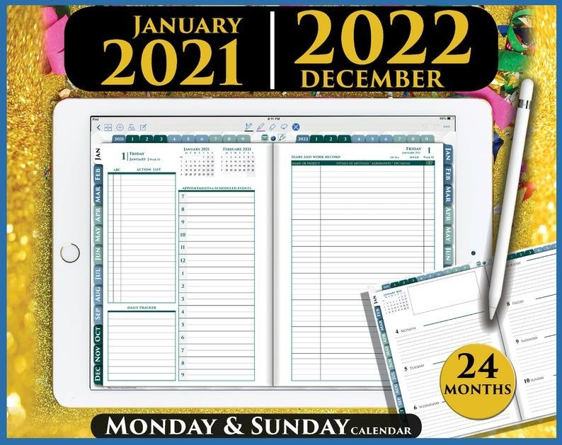 Digital Goodnotes Planner Daily Template 2021 2022 inside Free 2022 Daily Planner Template