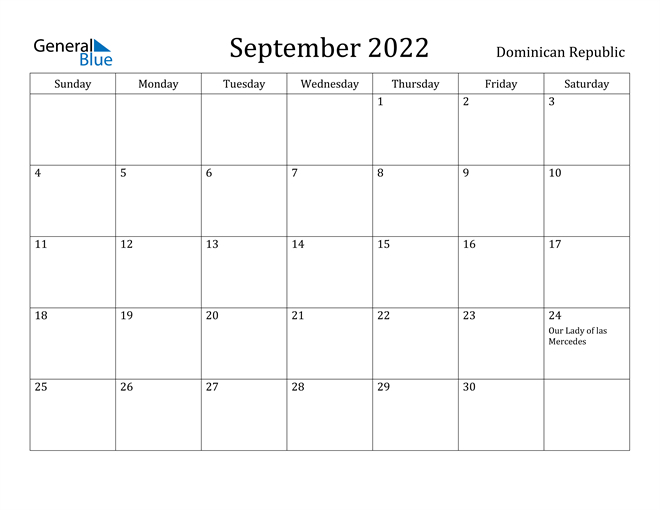 Dominican Republic September 2022 Calendar With Holidays in September 2022 Monthly Calendar