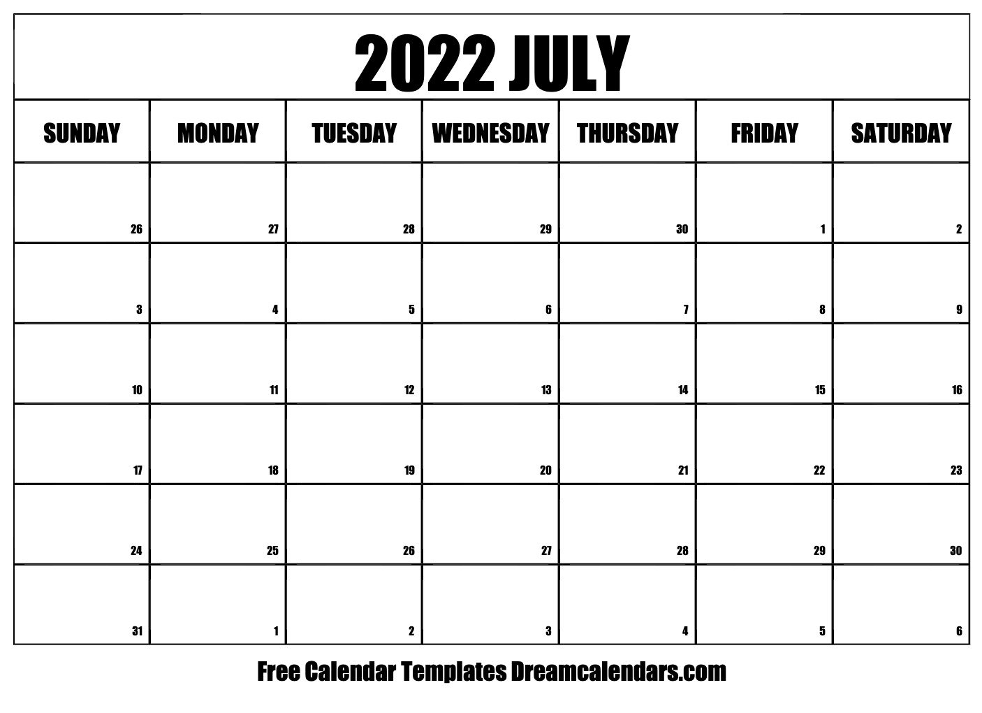 Download Printable July 2022 Calendars with Planner 2022 Printable Goal Image