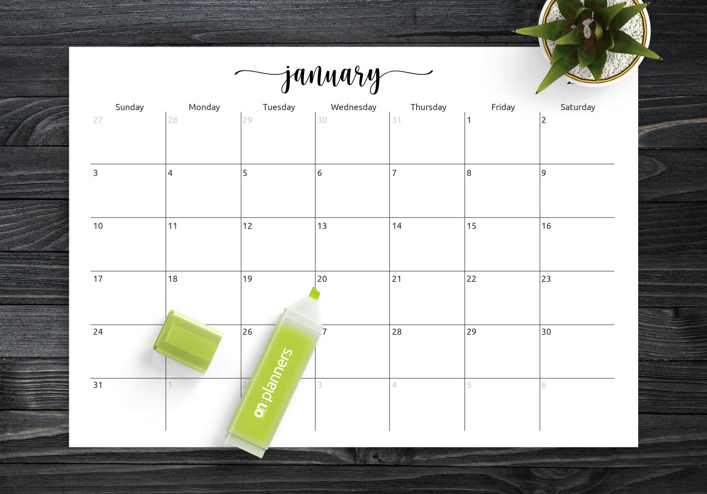 Download Printable Spacious Monthly Calendar Grid Pdf intended for Weekly Planner Grid Free Printable