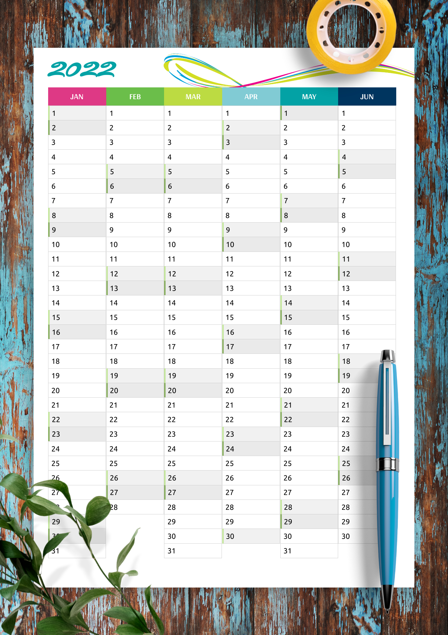 Download Printable Two Pages Vertical Calendar Pdf within Planner Pages Template Free