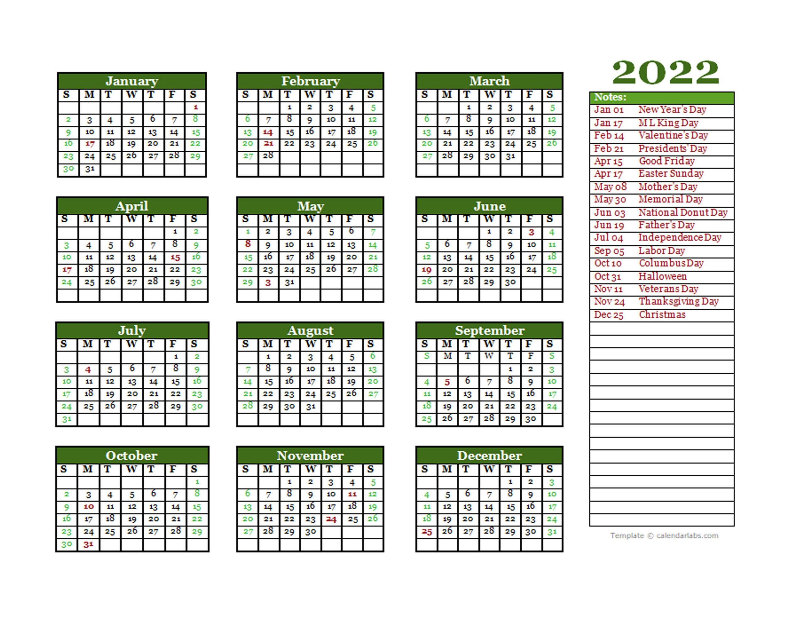 Editable 2022 Yearly Calendar Landscape - Free Printable pertaining to Yearly Planner 2022 Printable Free