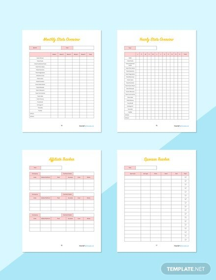 Editable Blog Planner Template - Word | Apple Pages for Planner Pages Template Free Photo