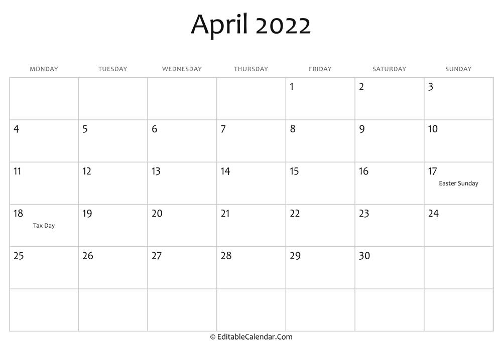 Editable Calendar April 2022 intended for 2022 April Calendar Free Printable