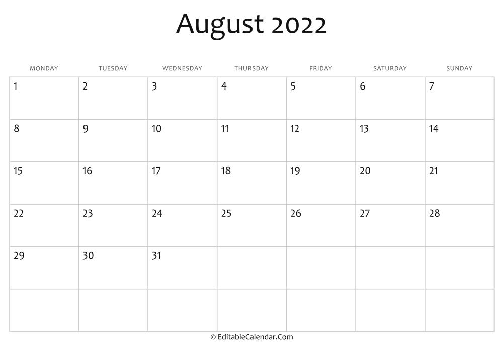 Editable Calendar August 2022 for Printable 2022 August Calendar