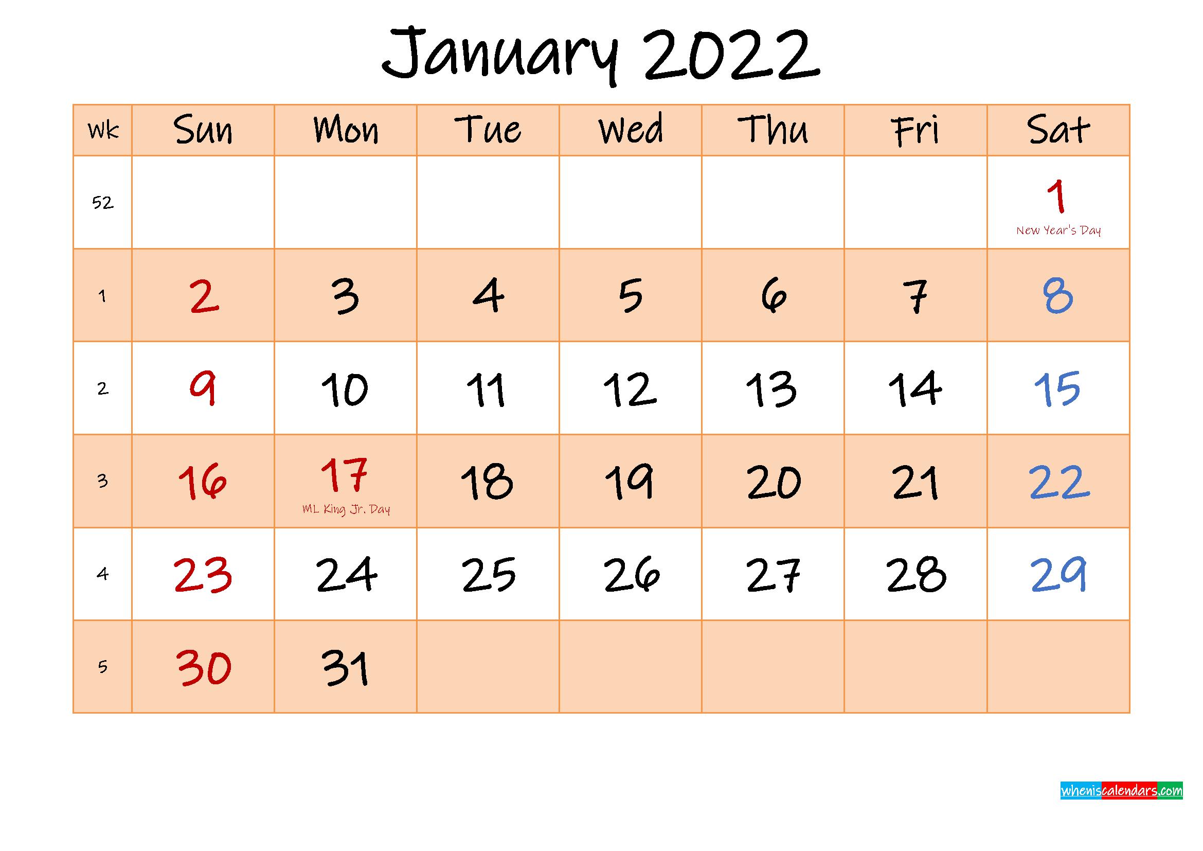 Editable January 2022 Calendar - Template No.ink22M481 regarding January 2022 Calendar Printable Free Graphics