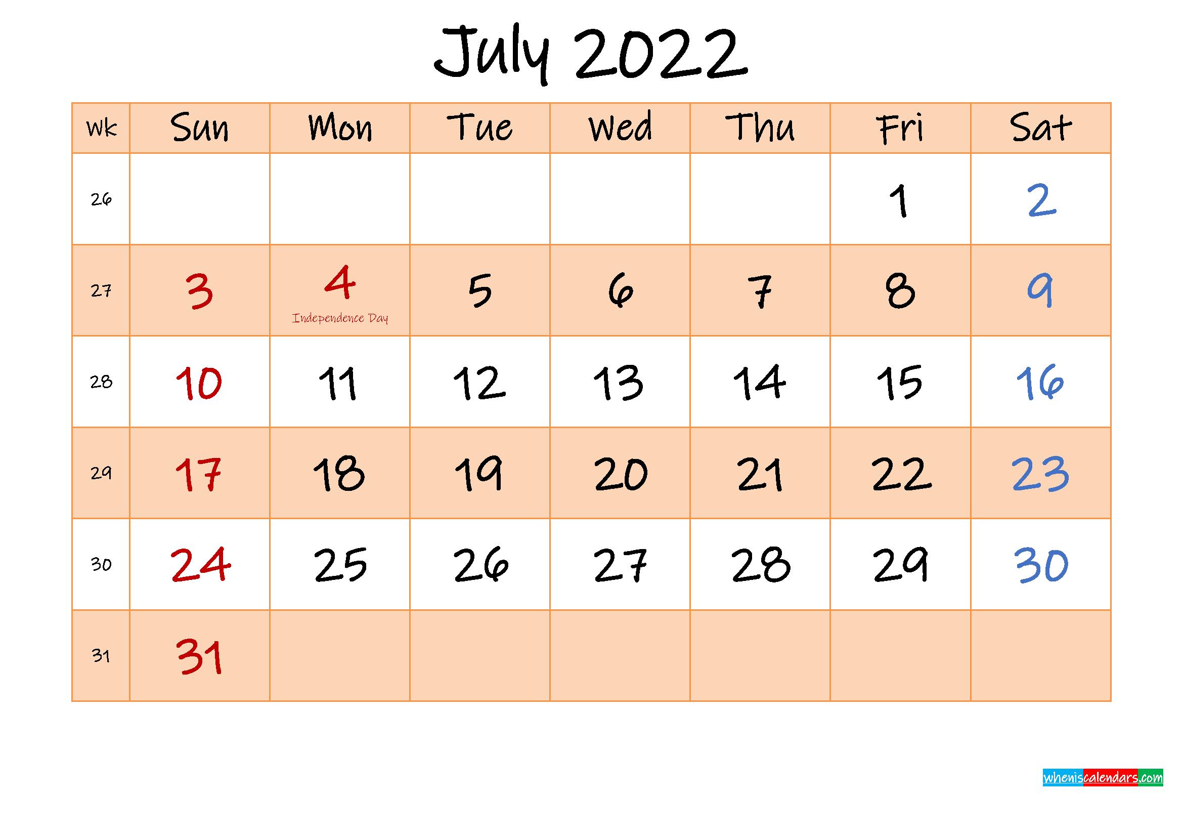 Editable July 2022 Calendar - Template No.ink22M487   Free throughout Blank Calendar Template July 2022
