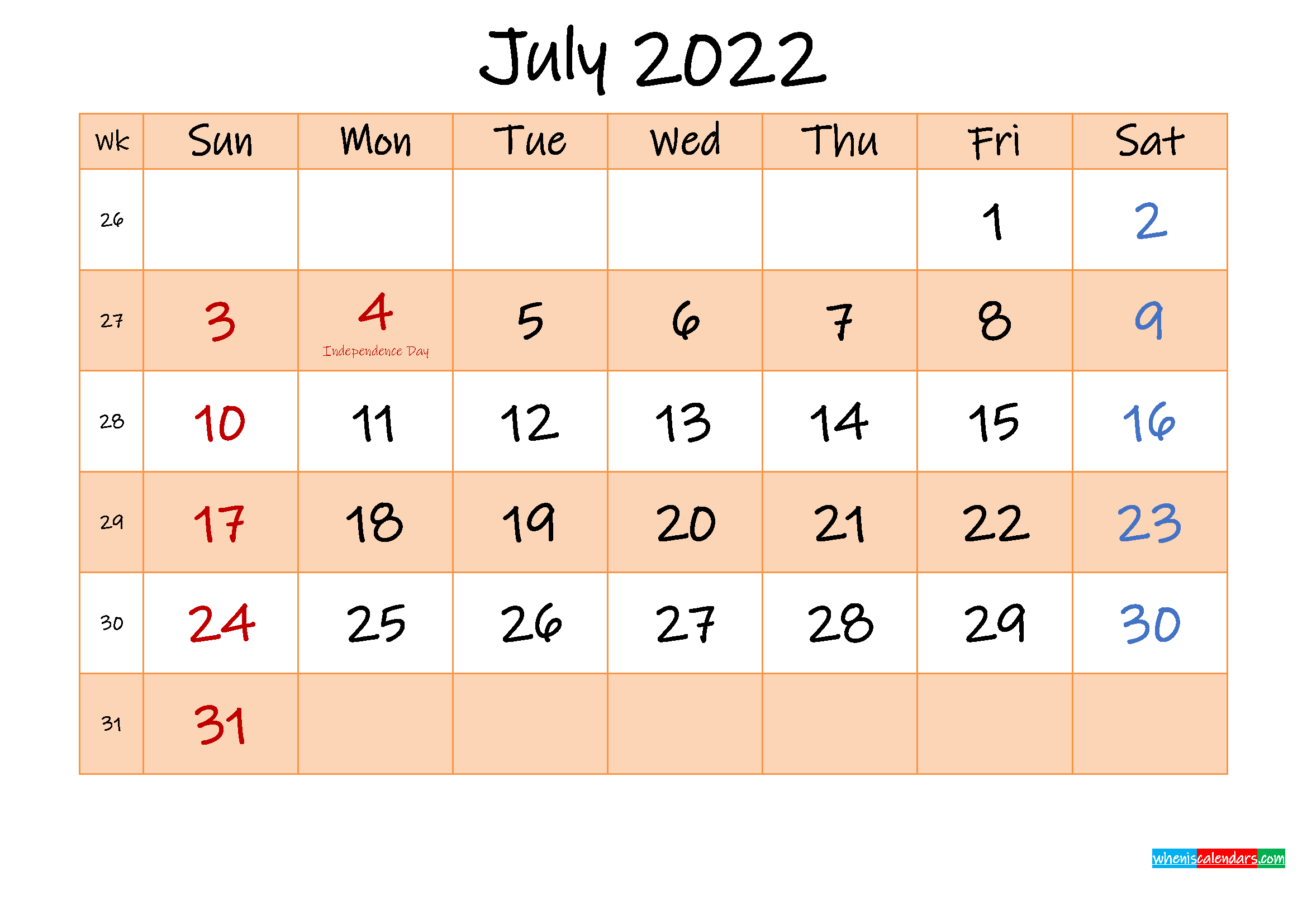 Editable July 2022 Calendar - Template No.ink22M487 | Free with regard to Print July 2022 Calendar Graphics