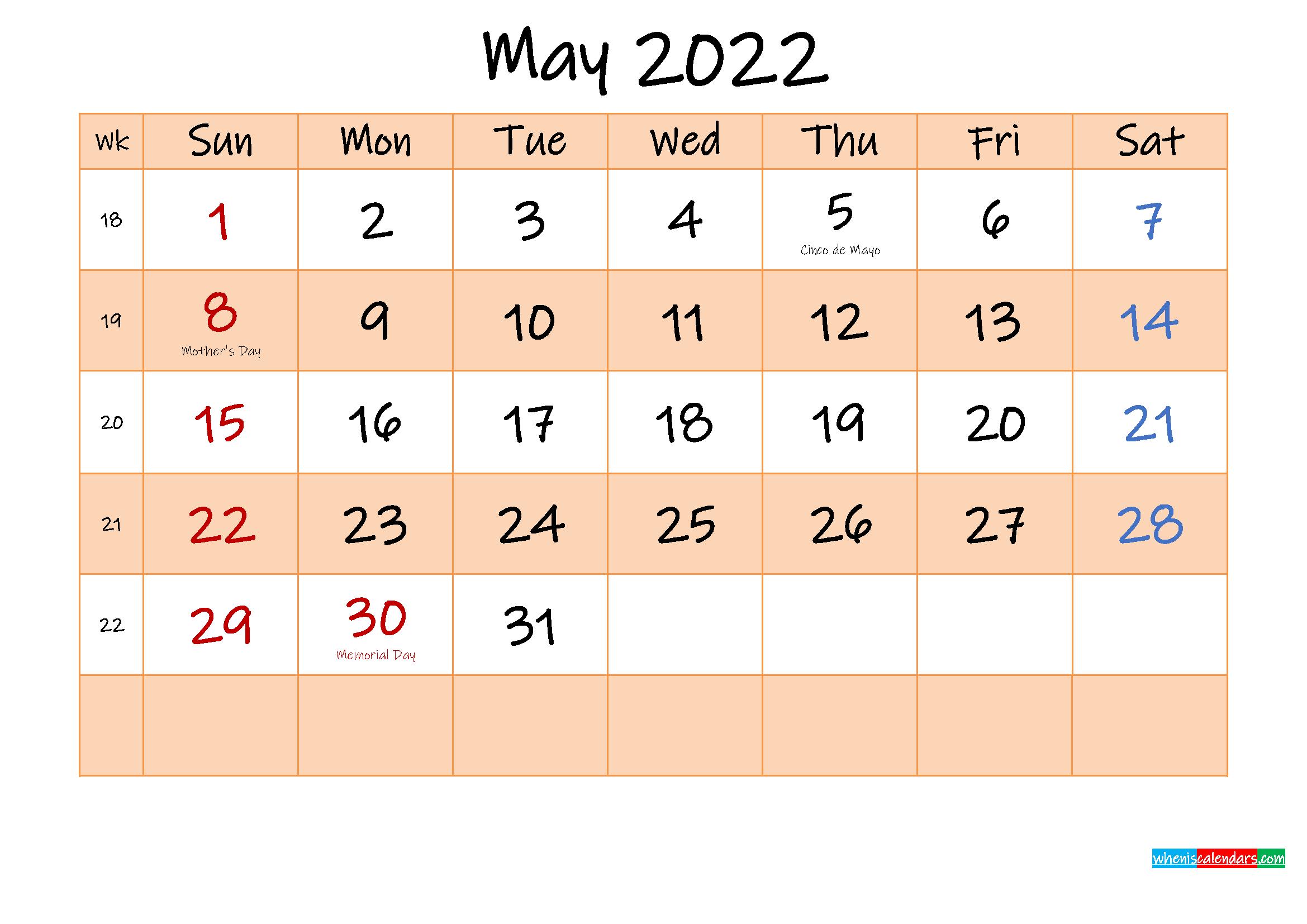 Editable May 2022 Calendar - Template No.ink22M485   Free pertaining to Printable Mayl 2022 Calendar Image