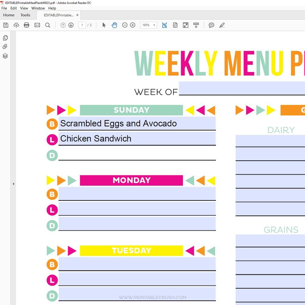 Editable Meal Plan Printable - Printable Crush in Free Meal Planner Printable Graphics