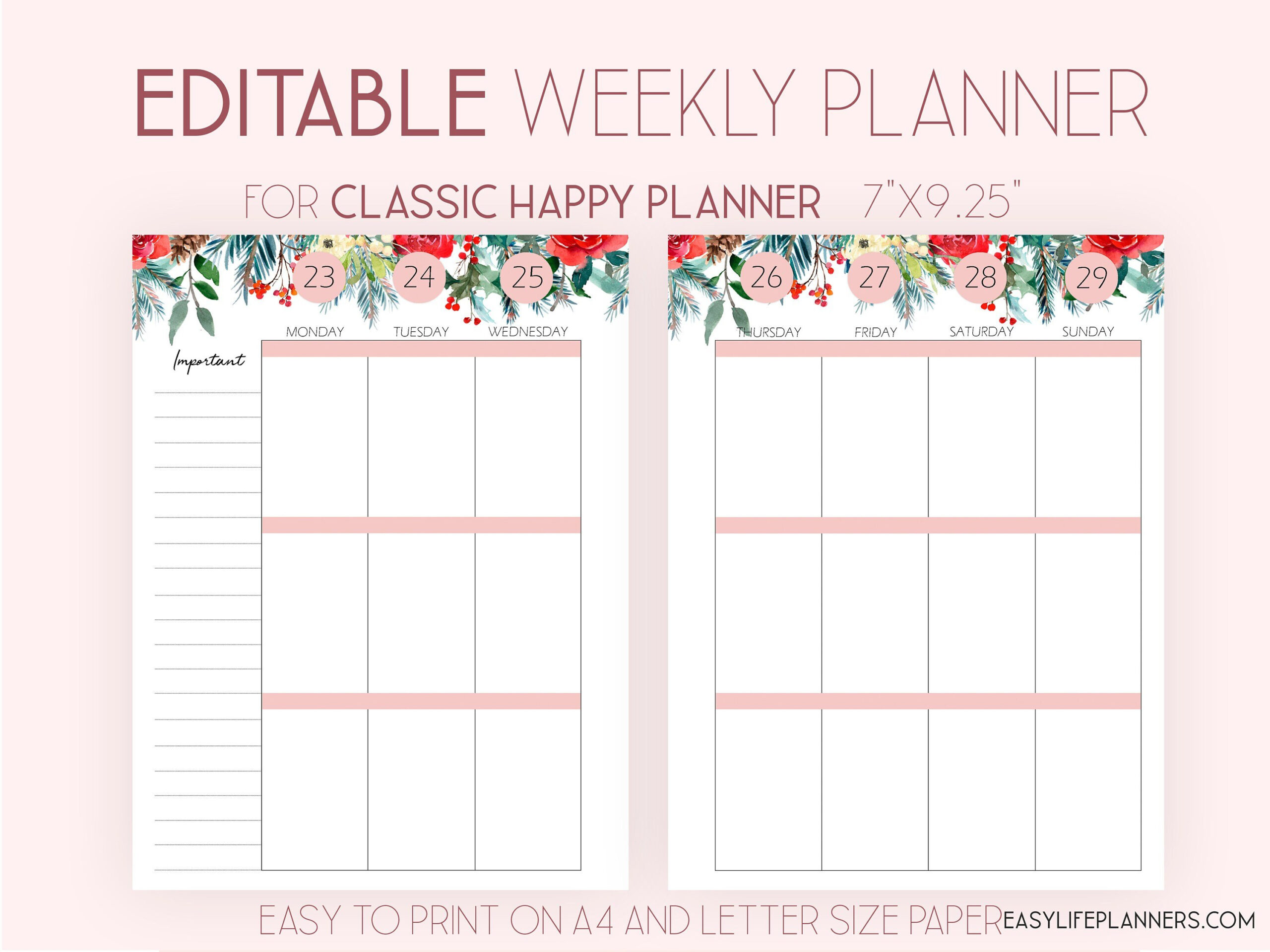 Editable Planner 2022 Weekly Planner Pages Made To Fit with regard to Daily Planner 2022 Template Photo