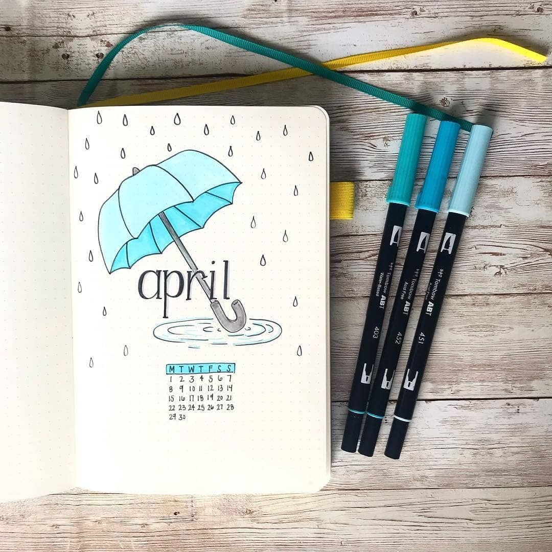 """📕📖Bullet Journal Collection📖📕 On Instagram: """"April Is in April Bullet Journal Spread Ideas Graphics"""