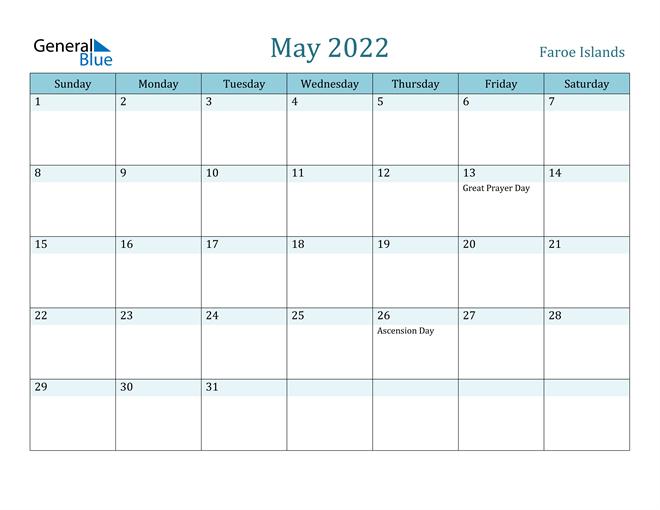 Faroe Islands May 2022 Calendar With Holidays inside May 2022 Calendar Template Image