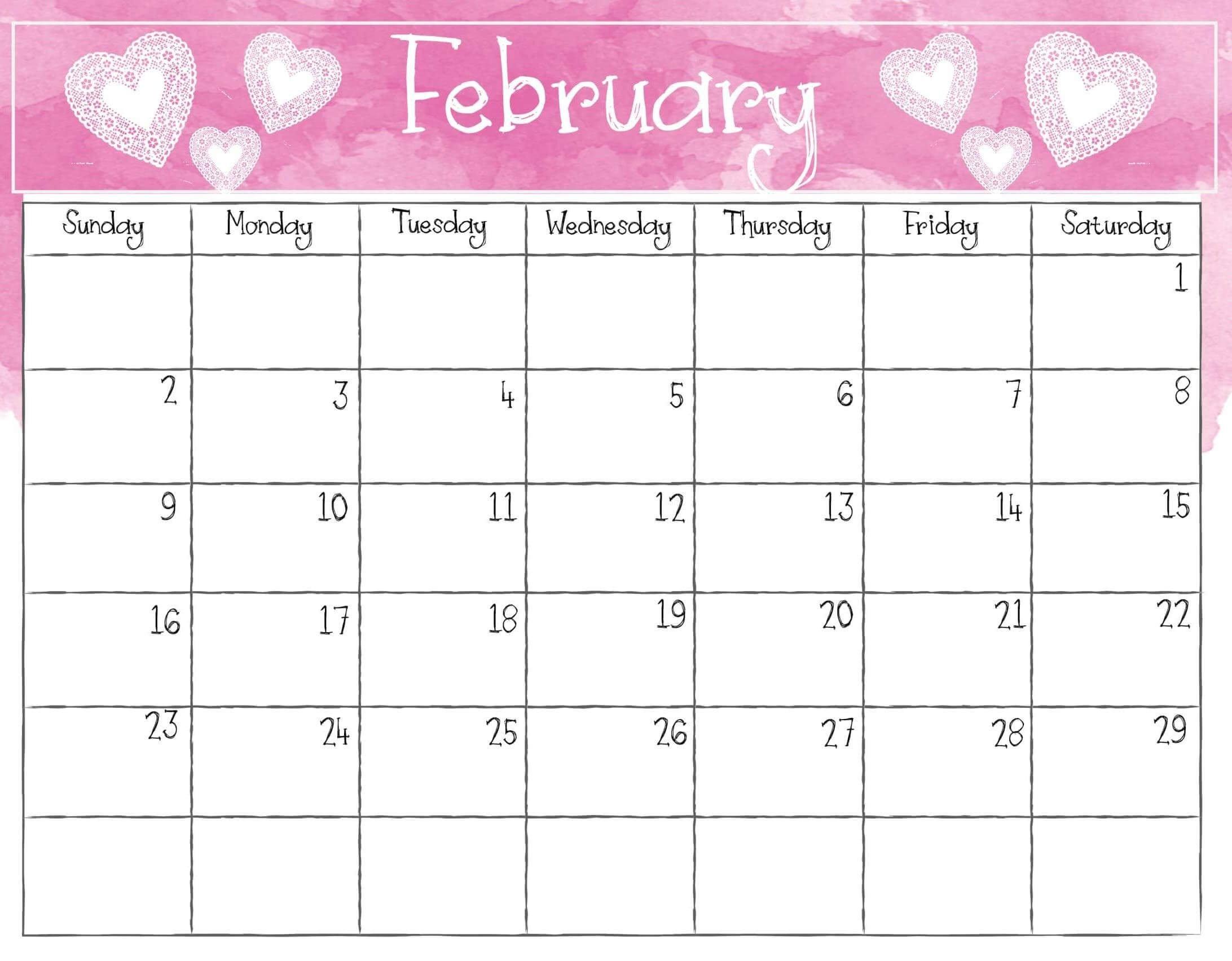 February 2020 Calendar Pdf, Excel Sheet | Free Printable regarding Printable February Calendar Pdf Graphics