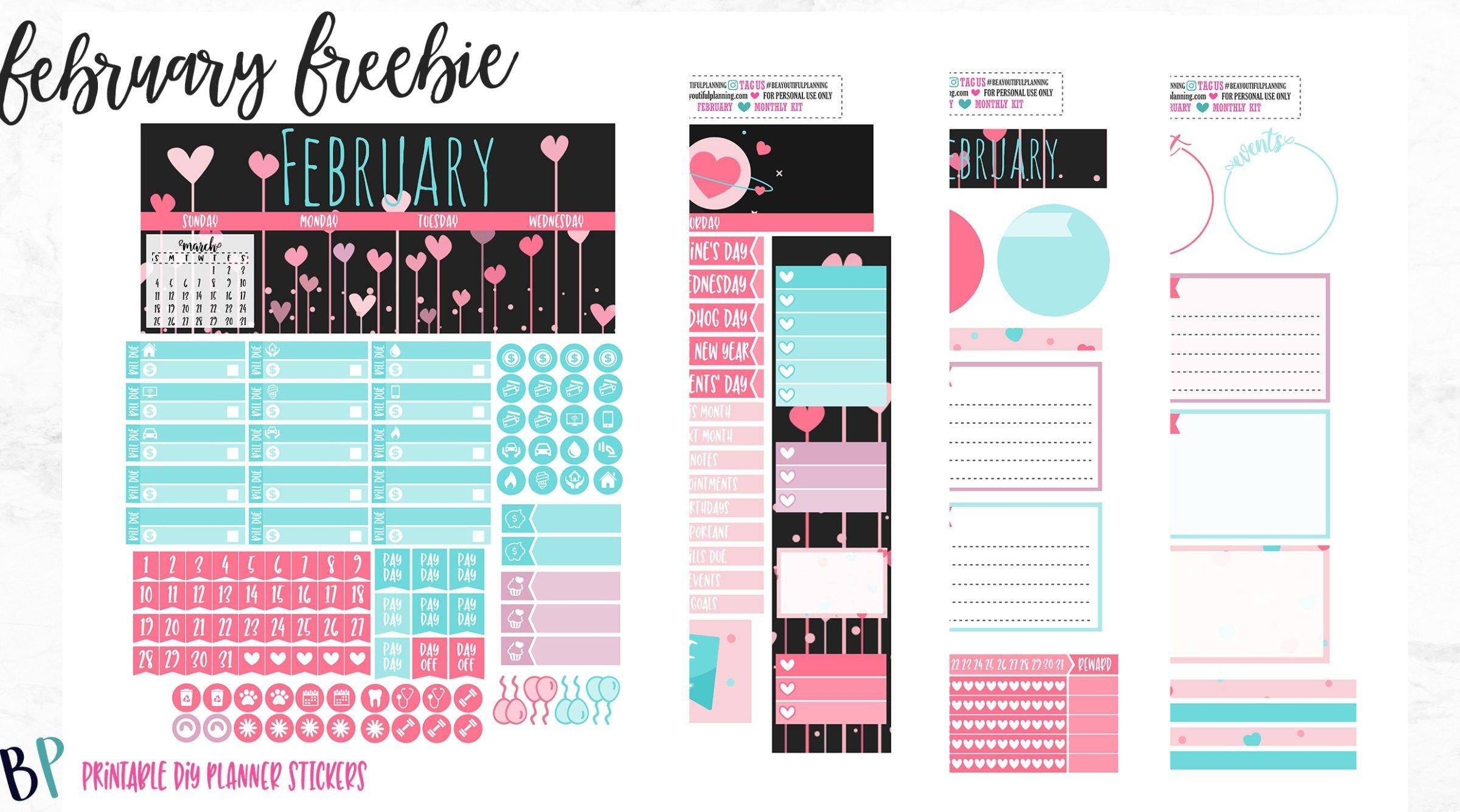 February Monthly - Free Printable   Mini Happy Planner within Free Happy Planner Monthly Printable