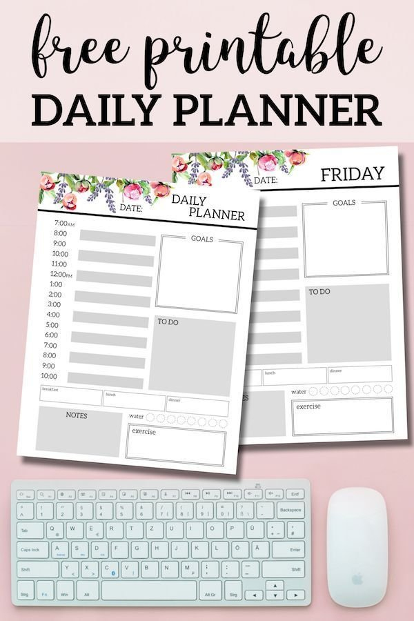 Floral Free Printable Daily Planner Template Sheets within Daily Planner Pages Printable Photo