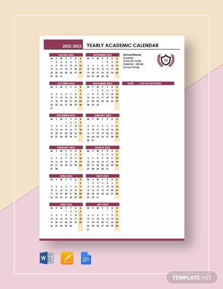 Free 12+ Sample Yearly Calendar Templates In Google Docs intended for Academic Planner Template Pdf