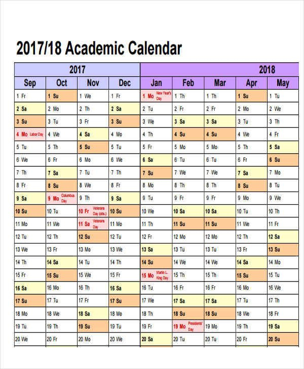Free 14+ Academic Calendar Templates In Ms Word   Pages inside Academic Planner Template Pdf