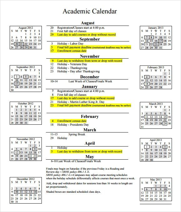 Free 17+ Academic Calendar Templates In Google Docs   Ms within Academic Planner Template Pdf Image