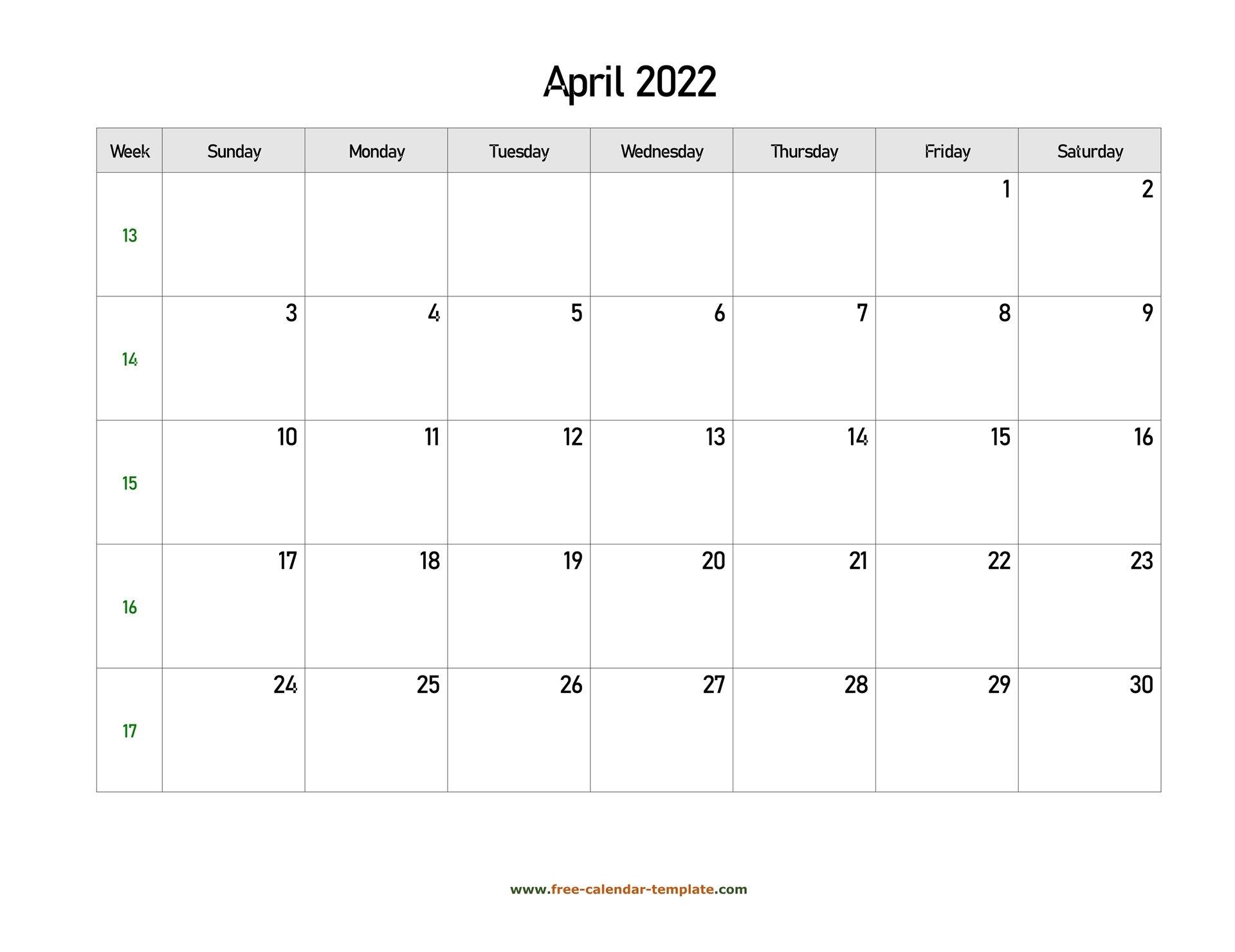 Free 2022 Calendar Blank April Template (Horizontal for Calendar April 2022 Printable Pdf