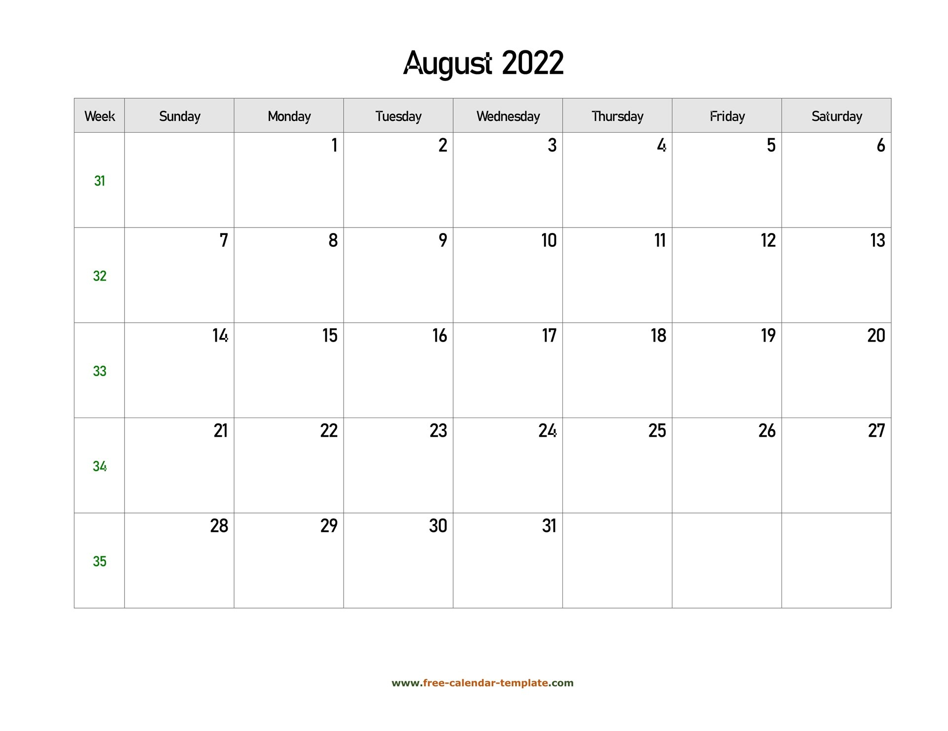 Free 2022 Calendar Blank August Template (Horizontal throughout Free Printable Calendar August 2022