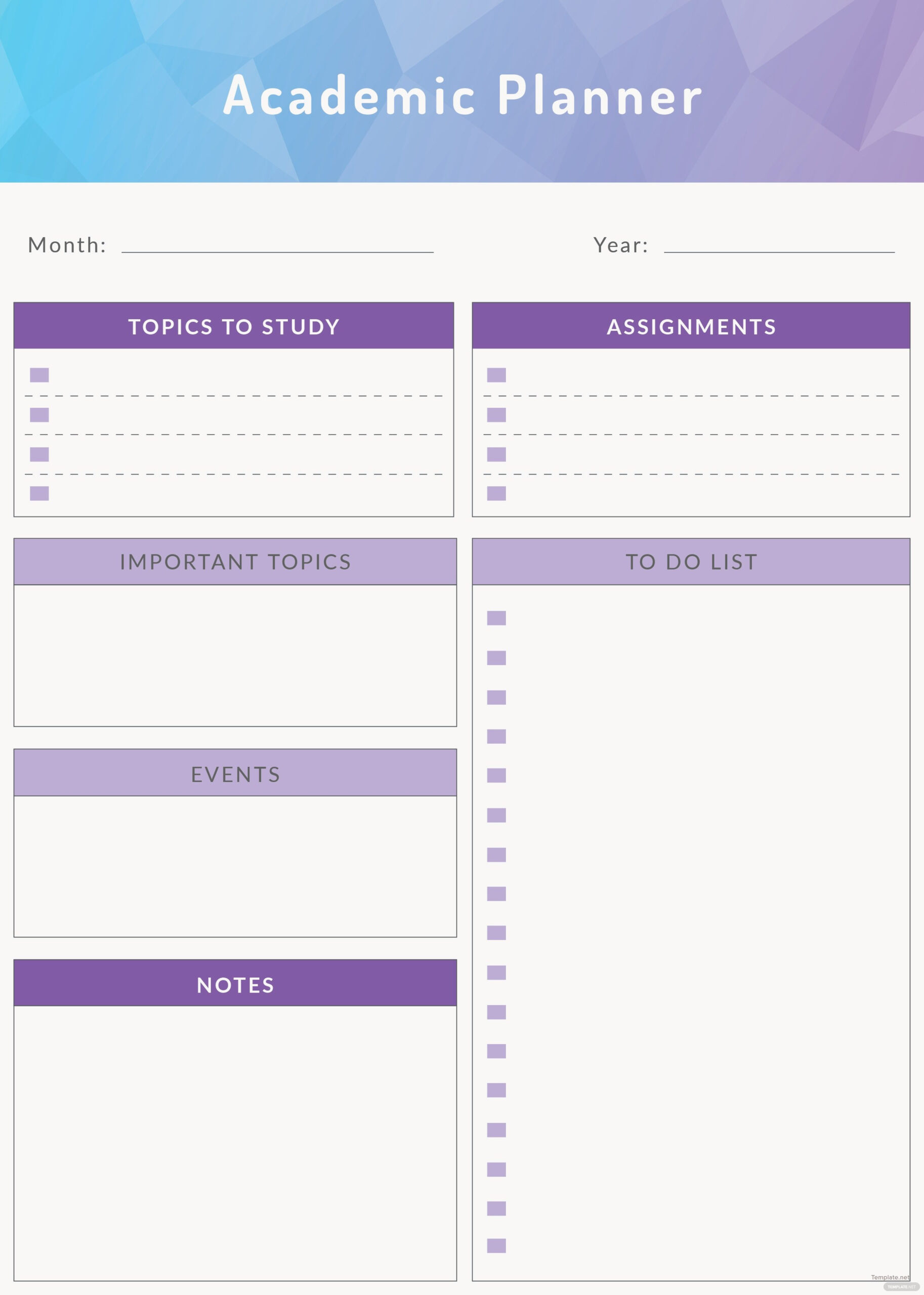 Free Academic Planner Template In Adobe Illustrator with regard to Planner Pages Template Free Photo