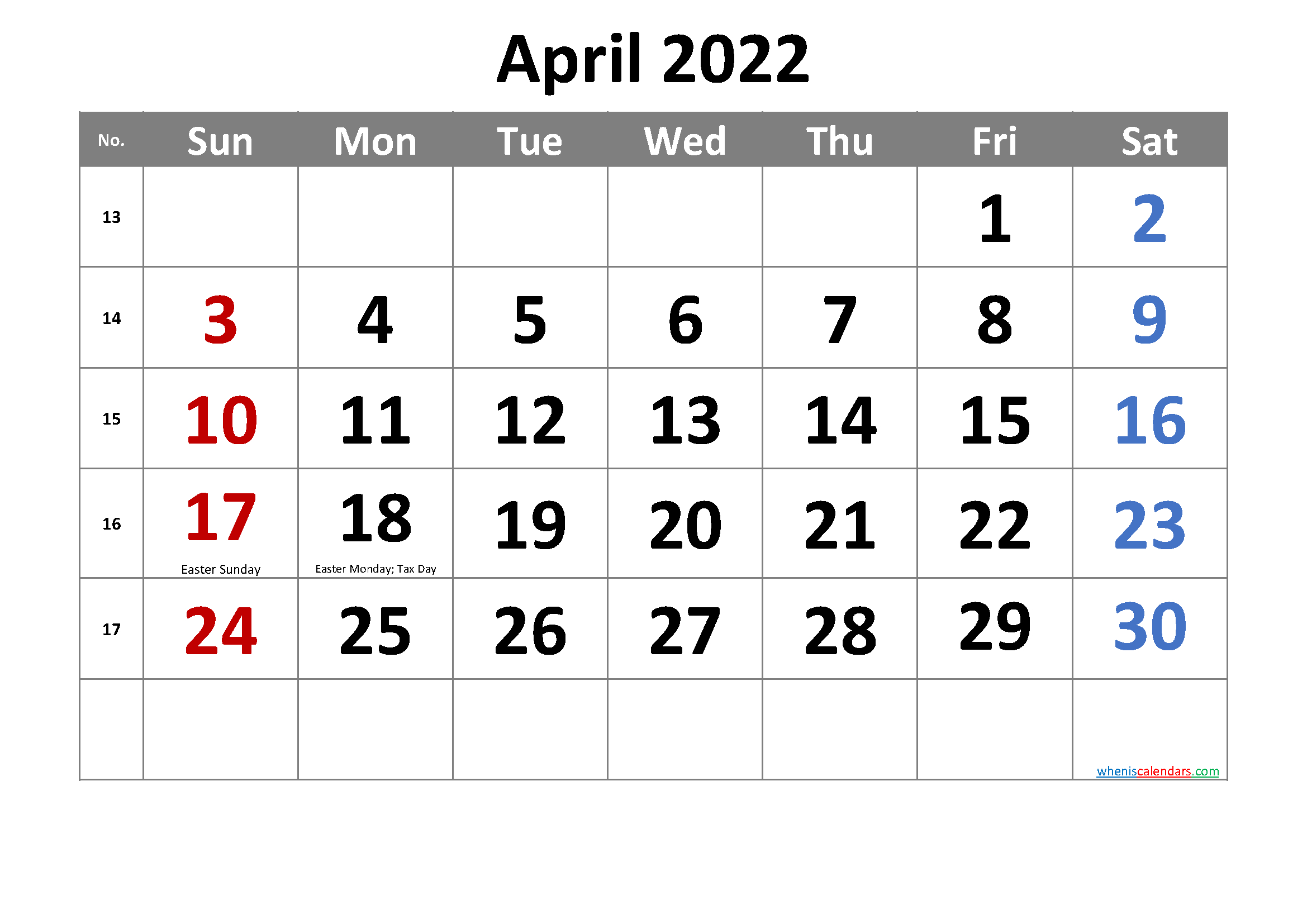 Free April 2022 Calendar Printable inside April 2022 Calendar Printable