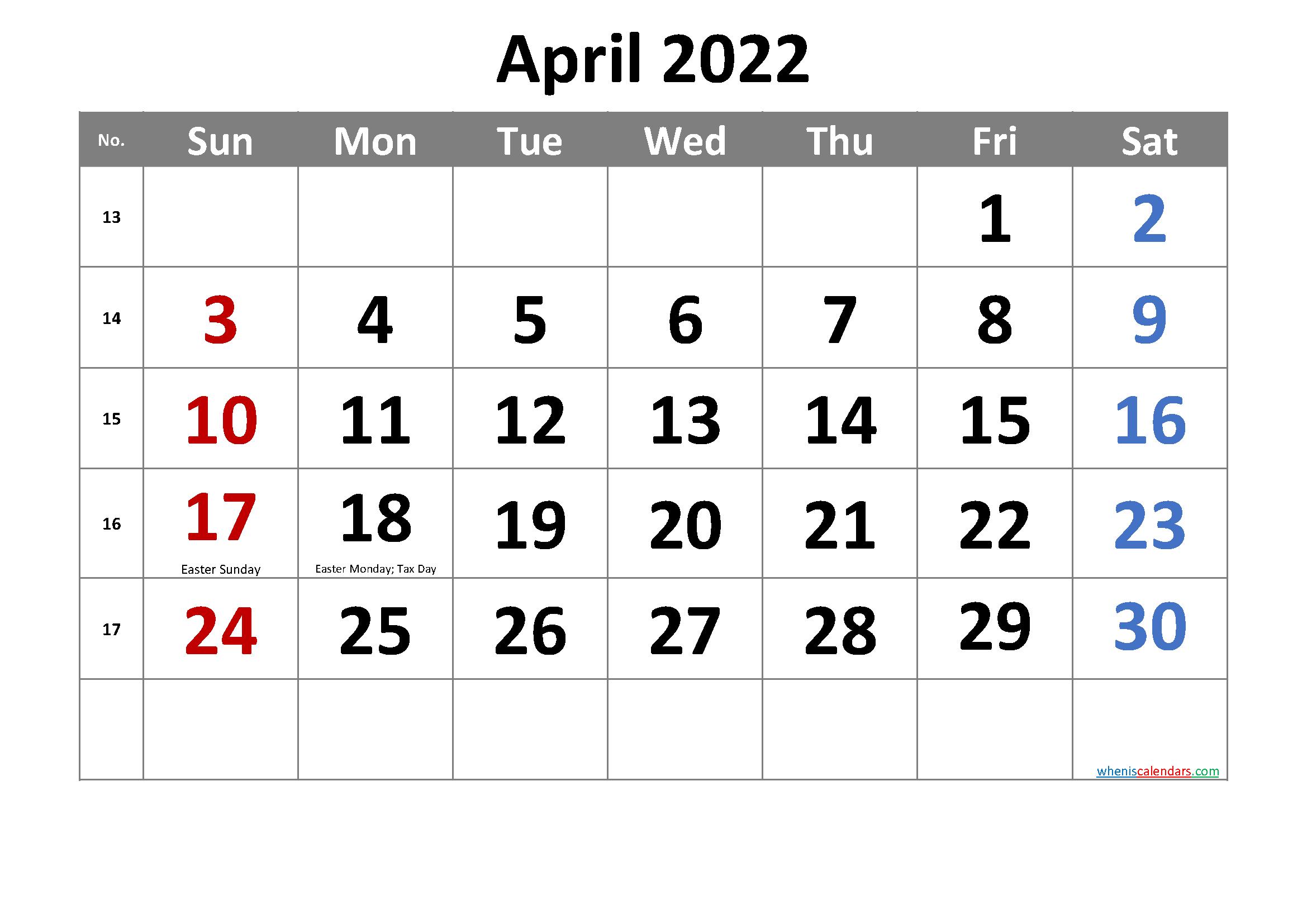 Free April 2022 Calendar Printable within Printable April 2022 Calendar Graphics