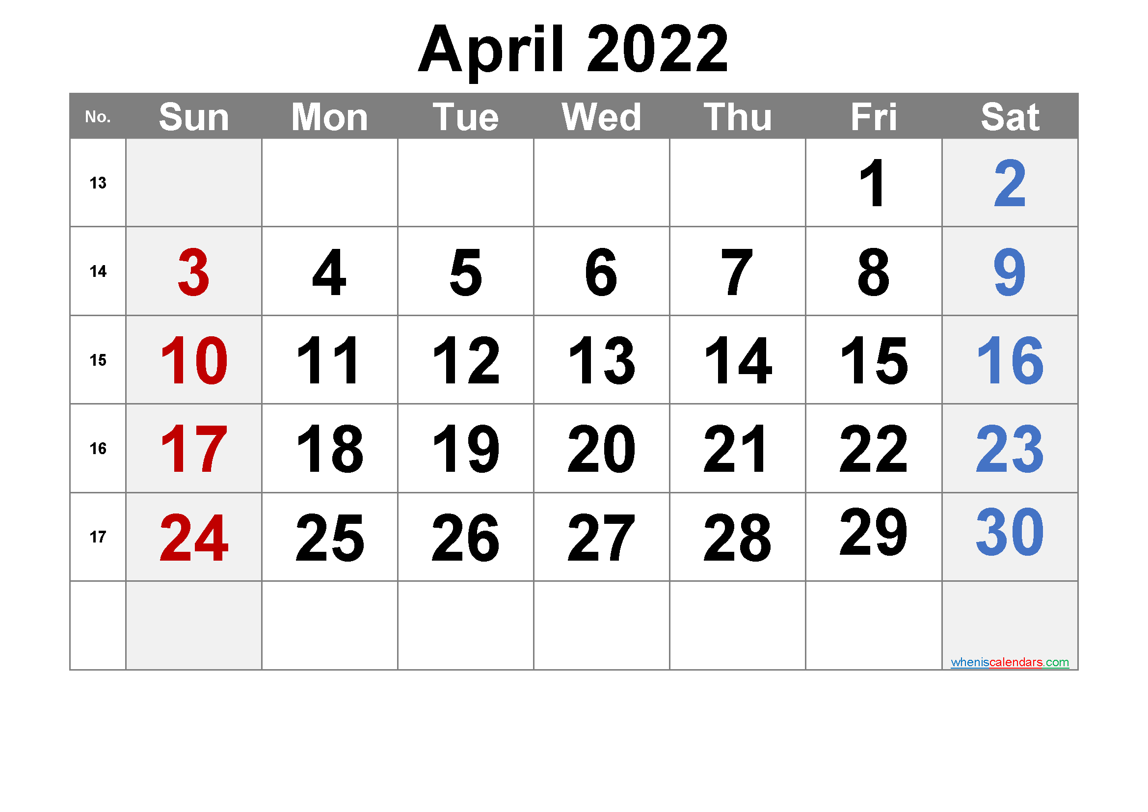 Free April 2022 Calendar With Week Numbers - Free intended for Print Calendar April 2022