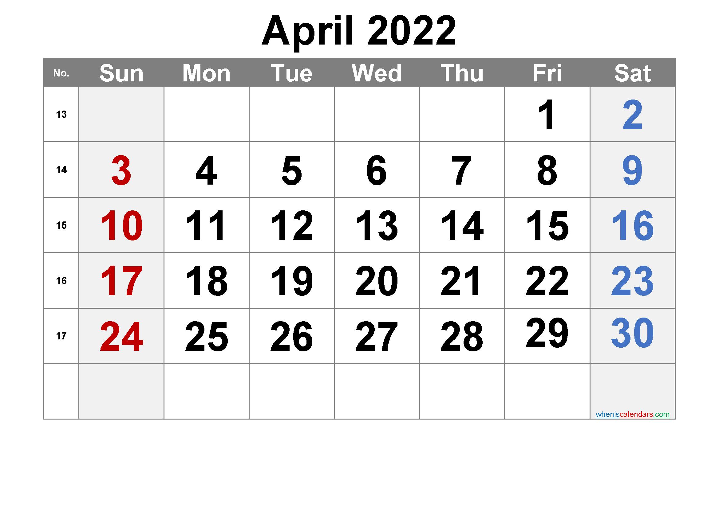 Free April 2022 Calendar With Week Numbers - Free regarding Blank Calendar Printable April 2022 Graphics