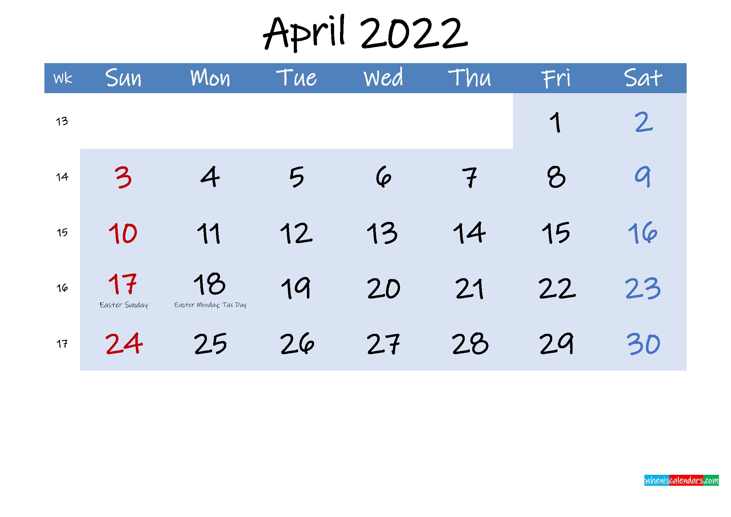 Free April 2022 Monthly Calendar Pdf - Template Ink22M184 within Printable April 2022 Calendar