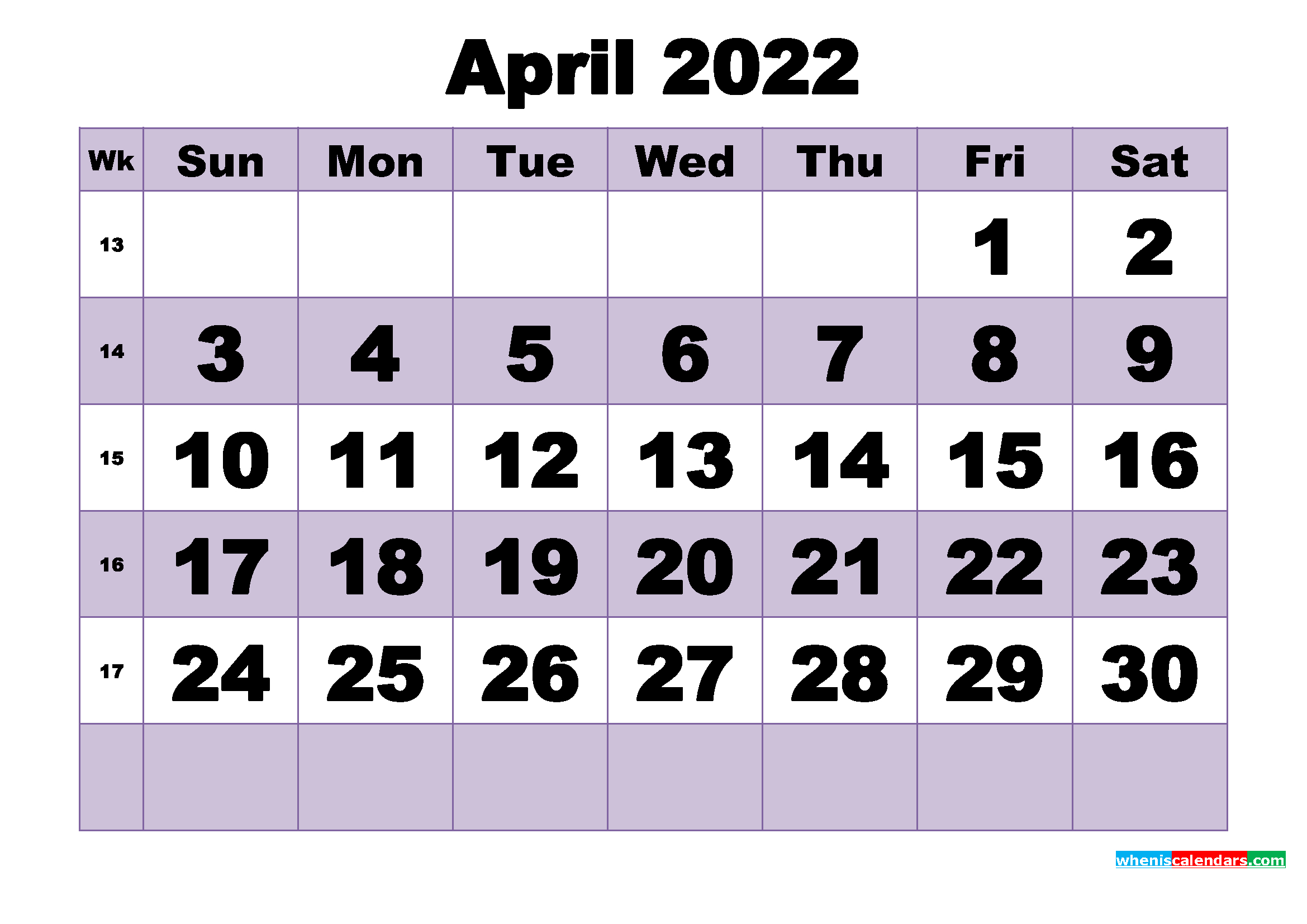 Free April 2022 Printable Monthly Calendar Template - Free with regard to Blank Calendar Printable April 2022