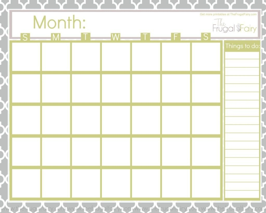 Free Blank Printable Calendar | The Frugal Fairy in Printable Artist Planner Pages