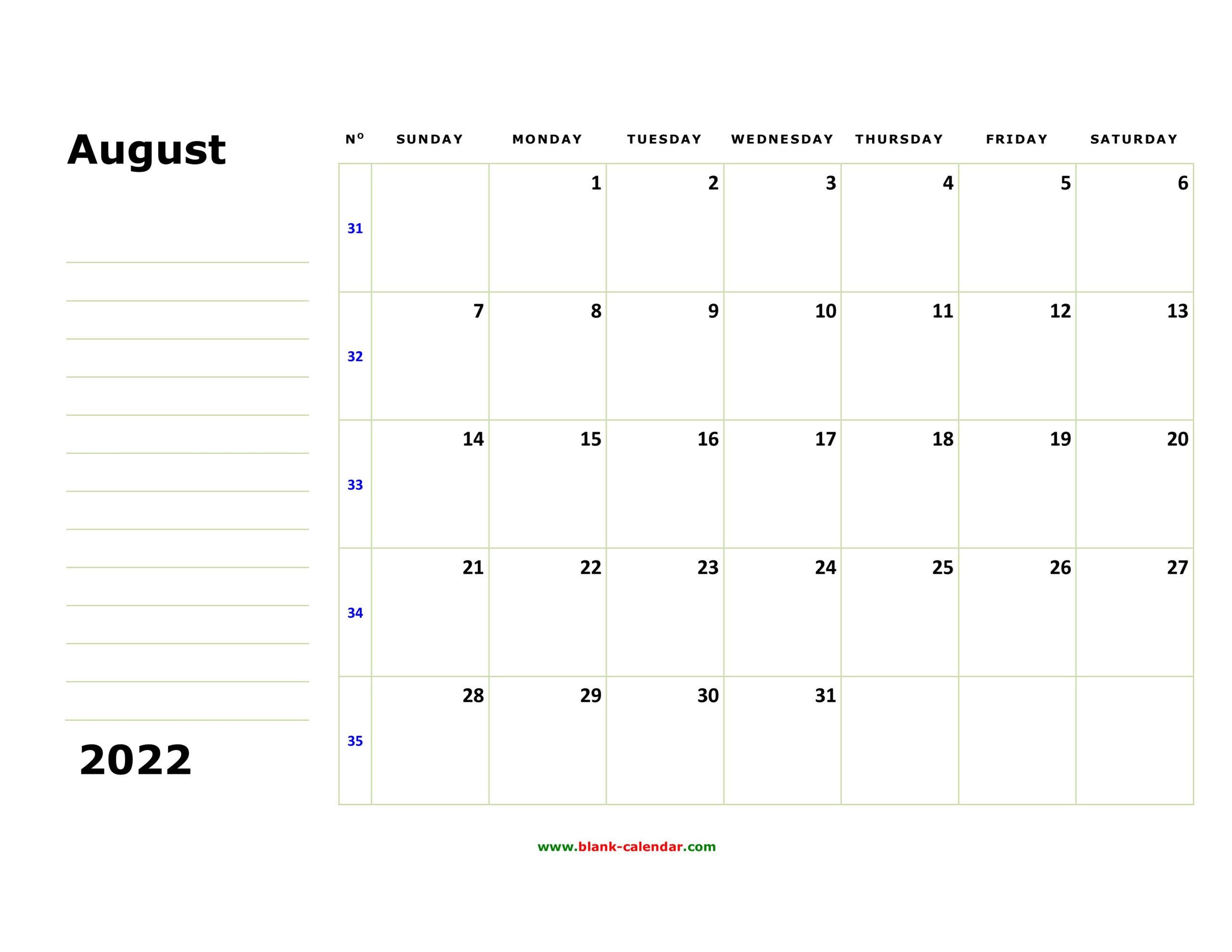 Free Download Printable August 2022 Calendar, Large Box regarding Printable Monthly Calendar August 2022