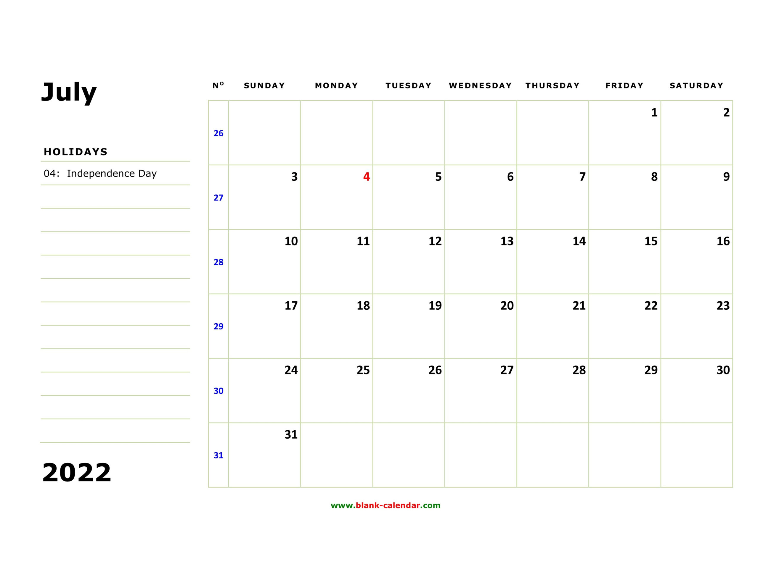Free Download Printable July 2022 Calendar, Large Box pertaining to Print July 2022 Calendar Graphics