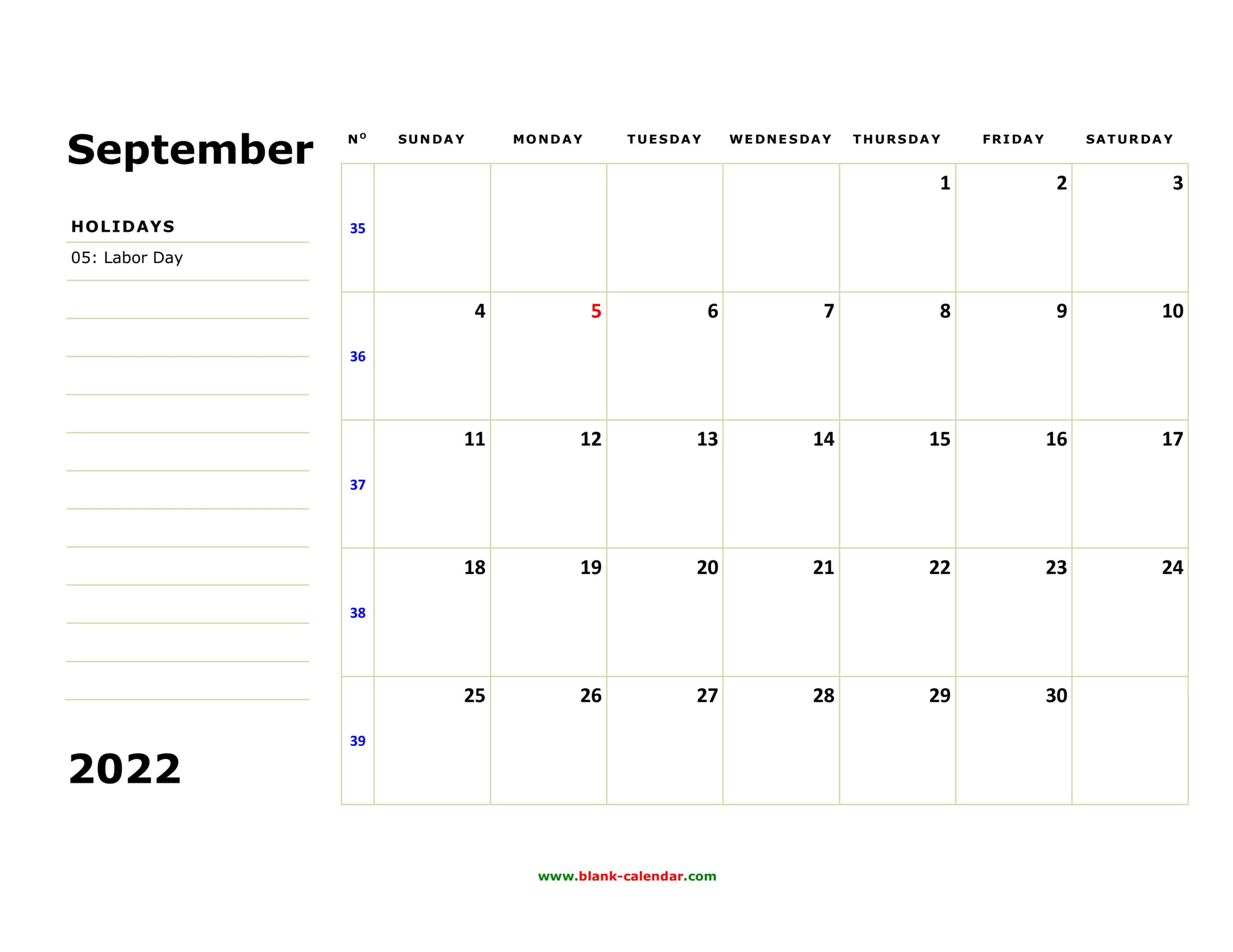 Free Download Printable September 2022 Calendar, Large Box inside September 2022 Calendar Template Photo